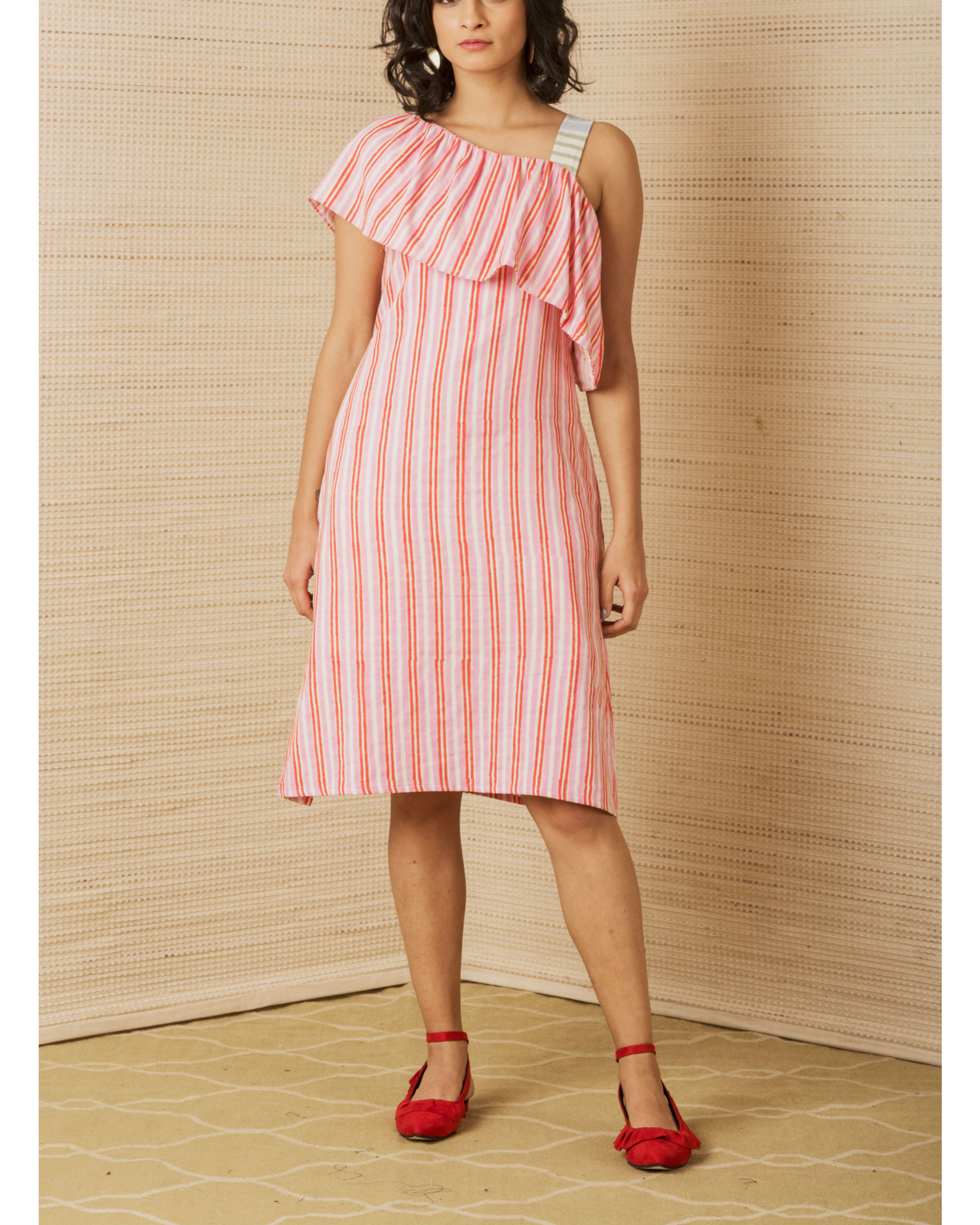 Striped One Shoulder Dress