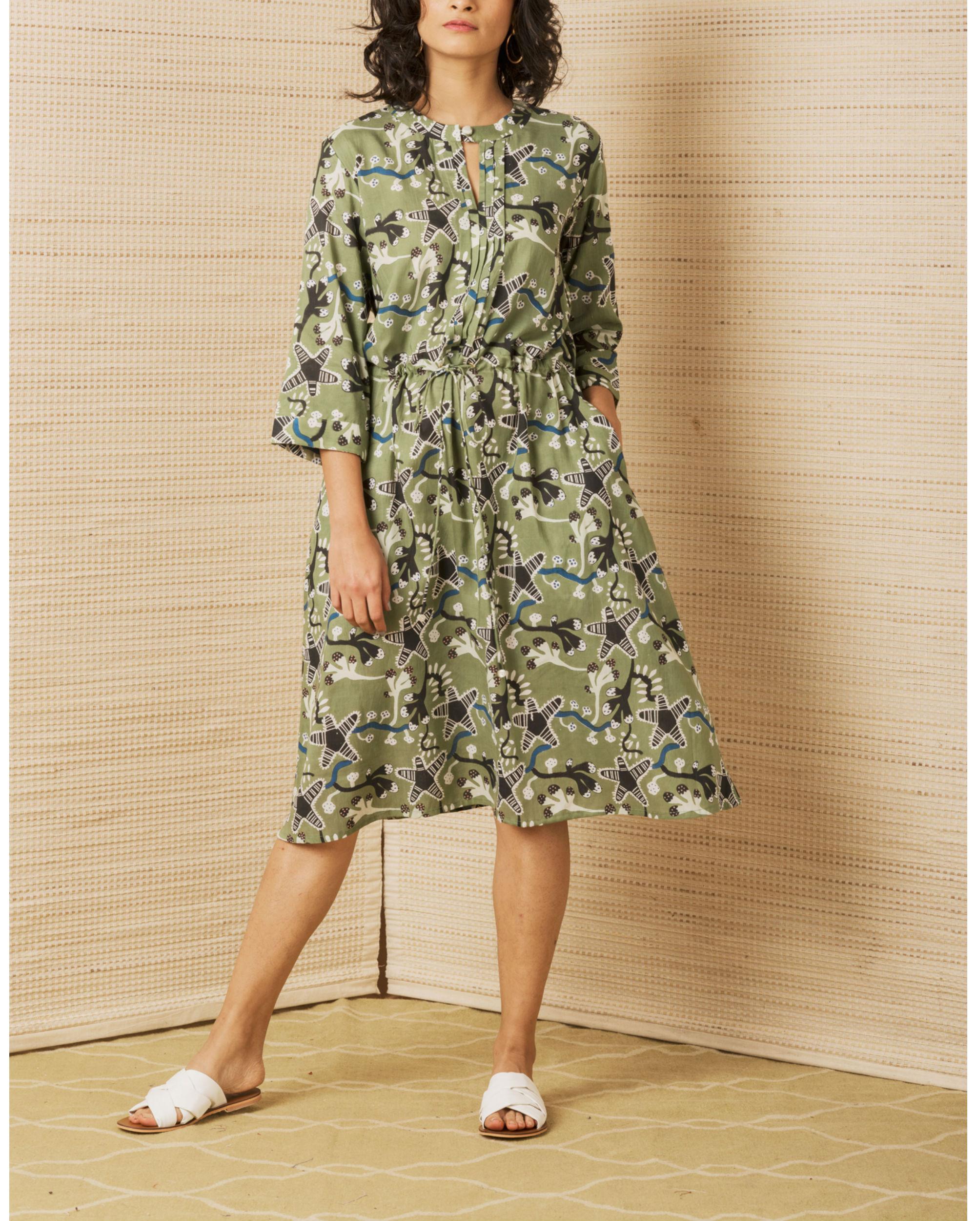 Moss Green Day Dress