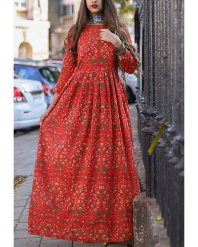 Red Floral Gathered Dress