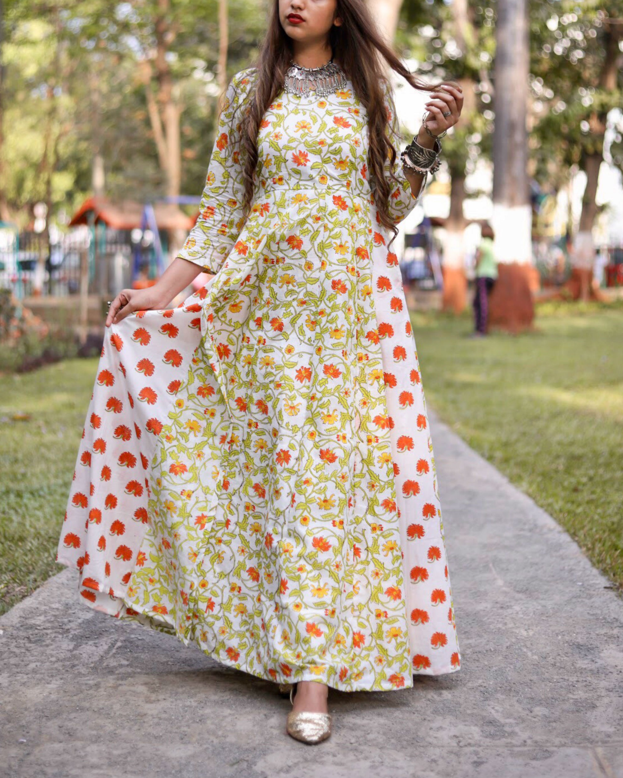 Mogra Orange Maxi Dress