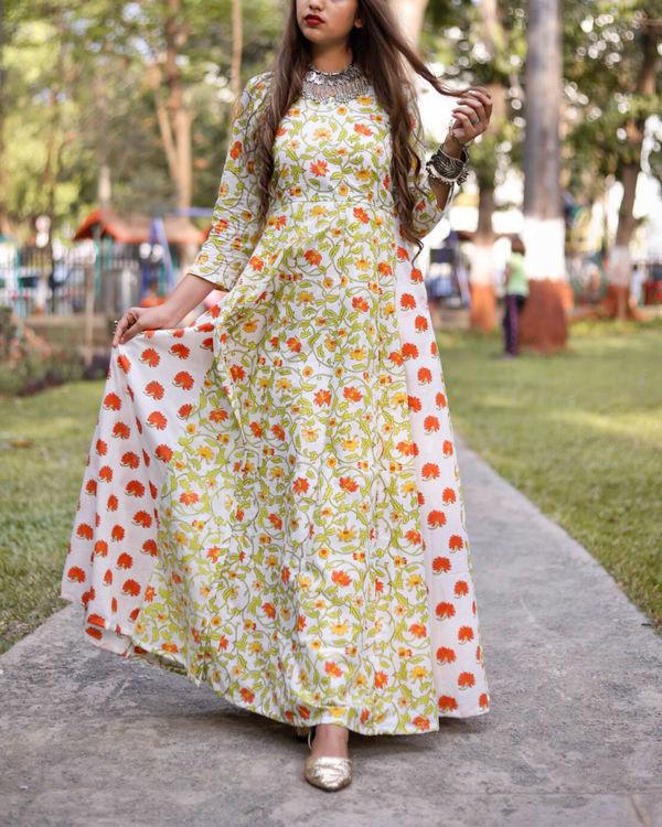 Mogra Orange Maxi Dress