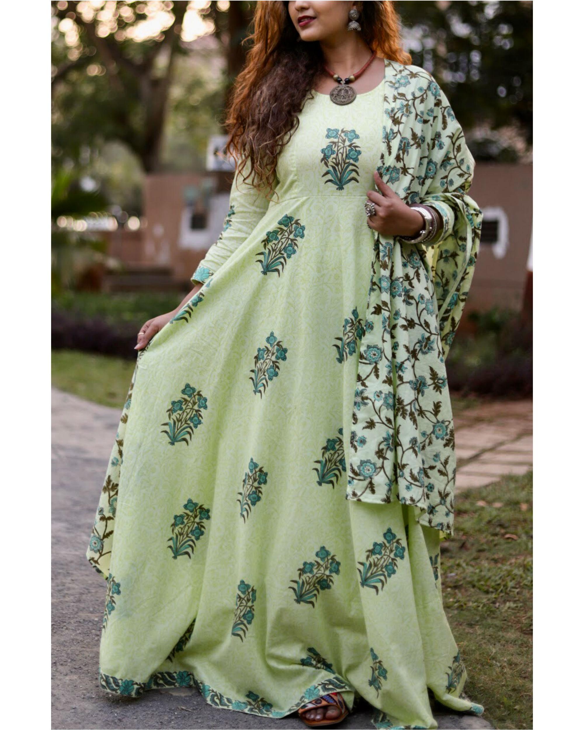 Green Block Print Anarkali Set