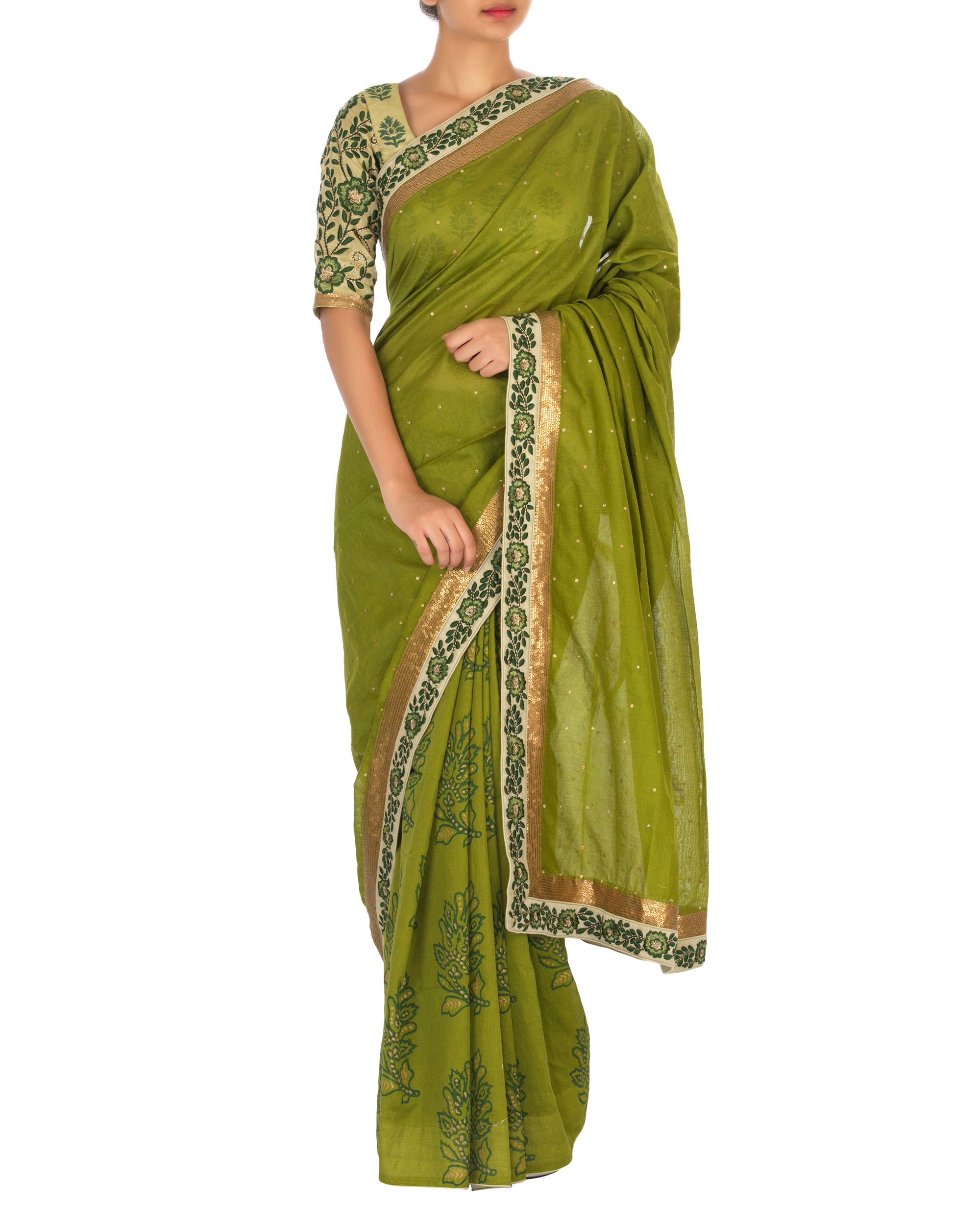 Green chanderi sari with embellished blouse