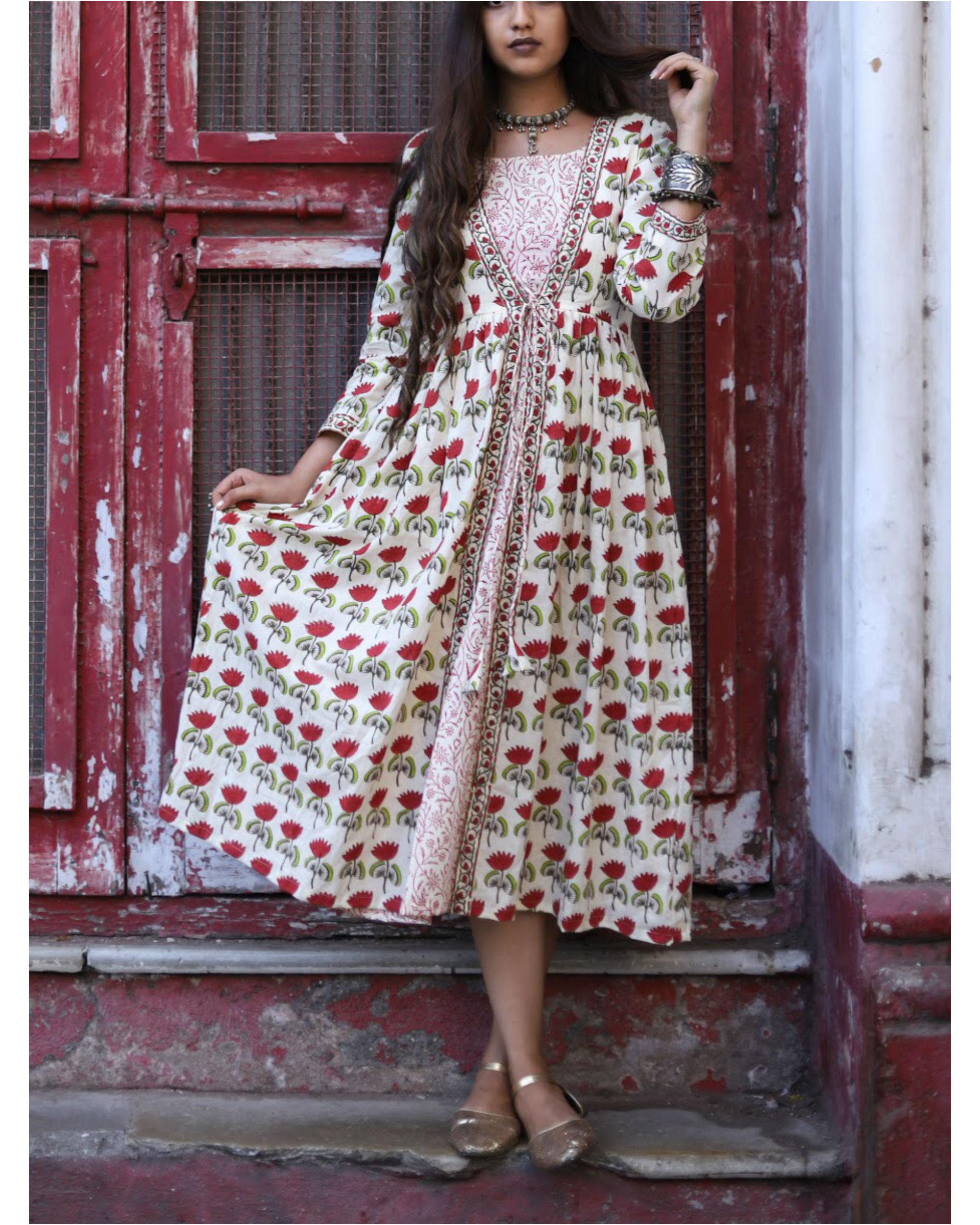 Red Lotus Print Dress
