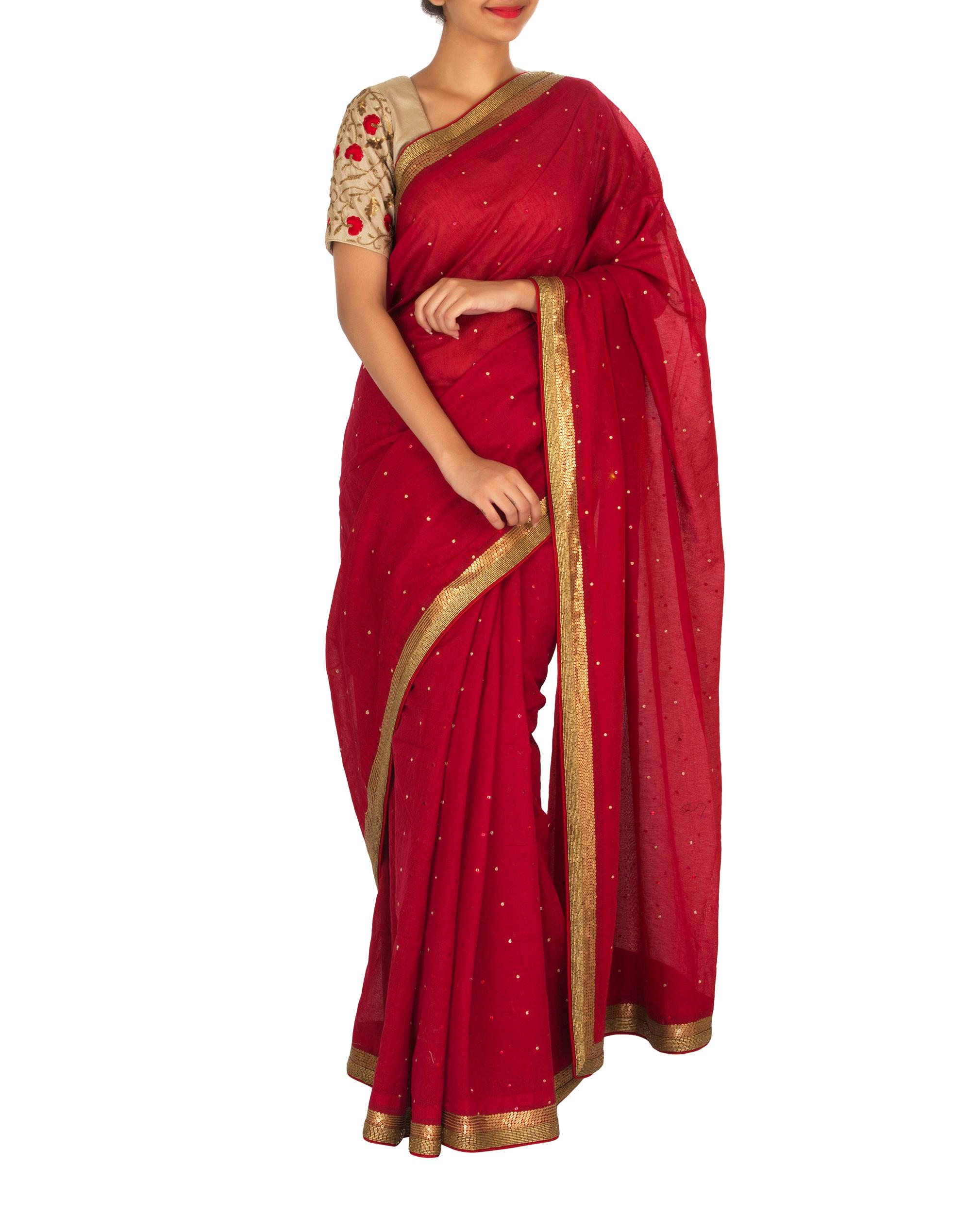 Red and beige chanderi sari