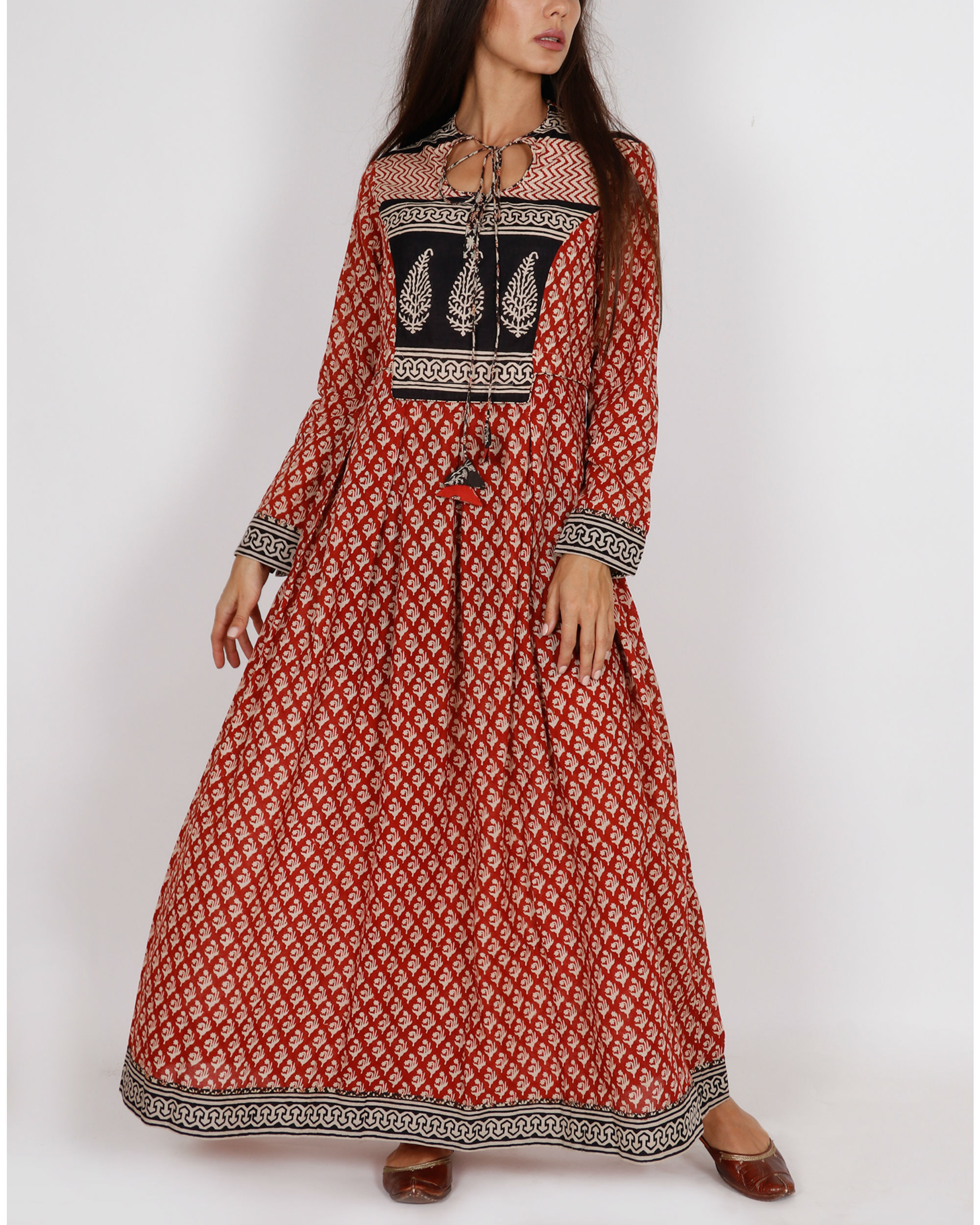 Red Kalidar Peshwaza Dress