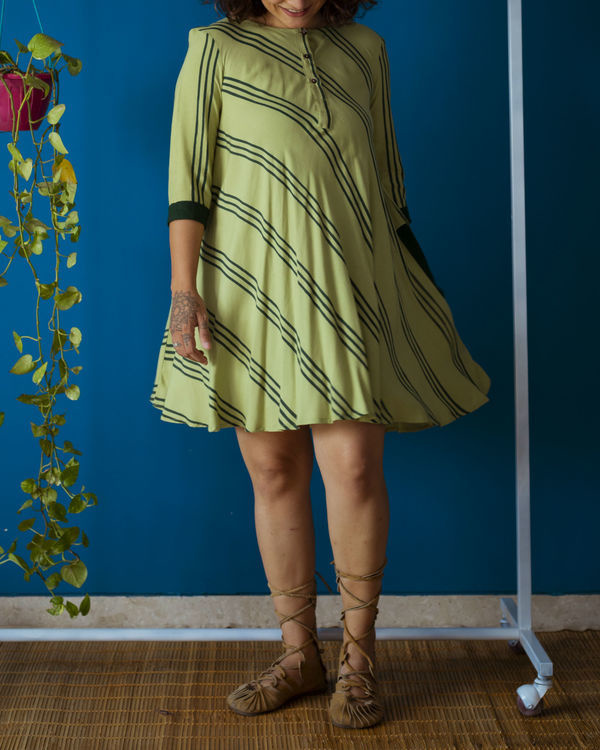 Pista Green Flared Day Dress