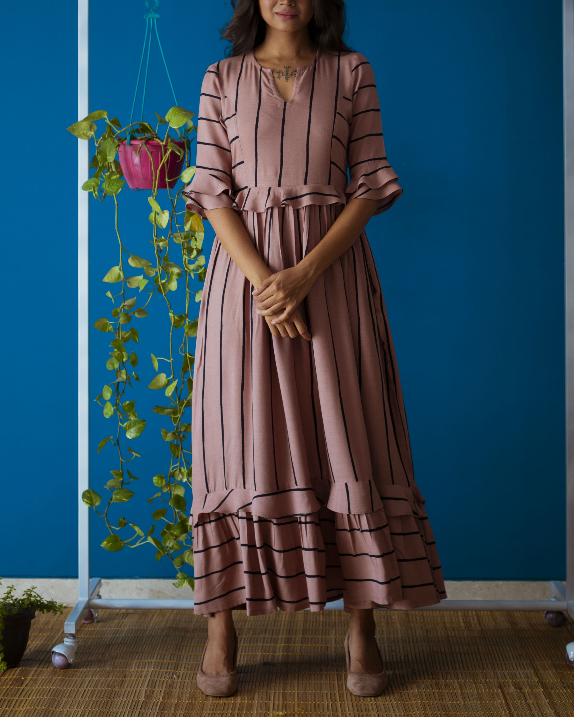 Rosy Brown Brunch Dress