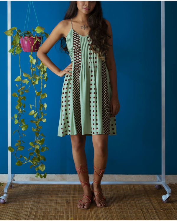Cross back Strappy Mint Dress