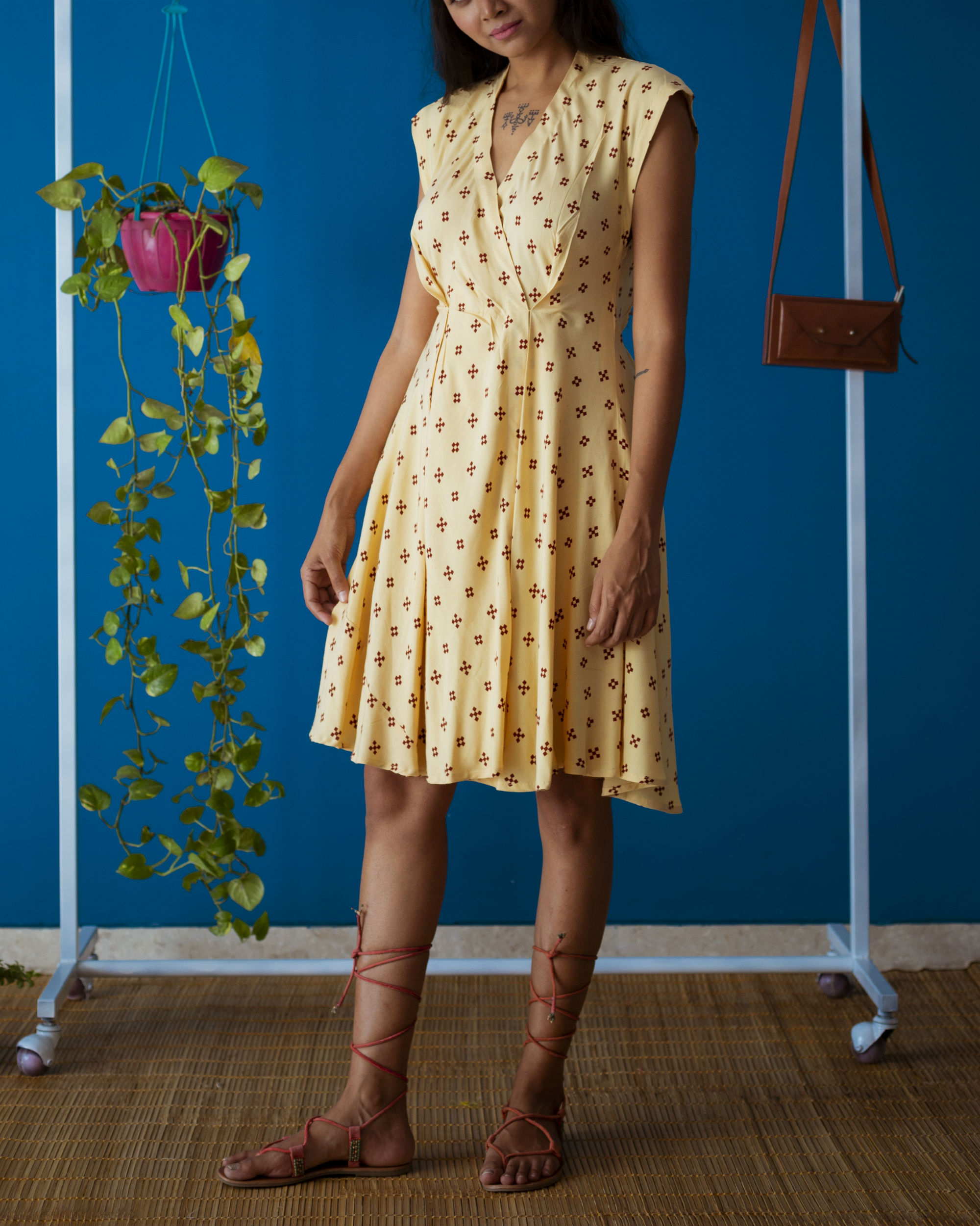 Yellow Pleated Brunch Dress