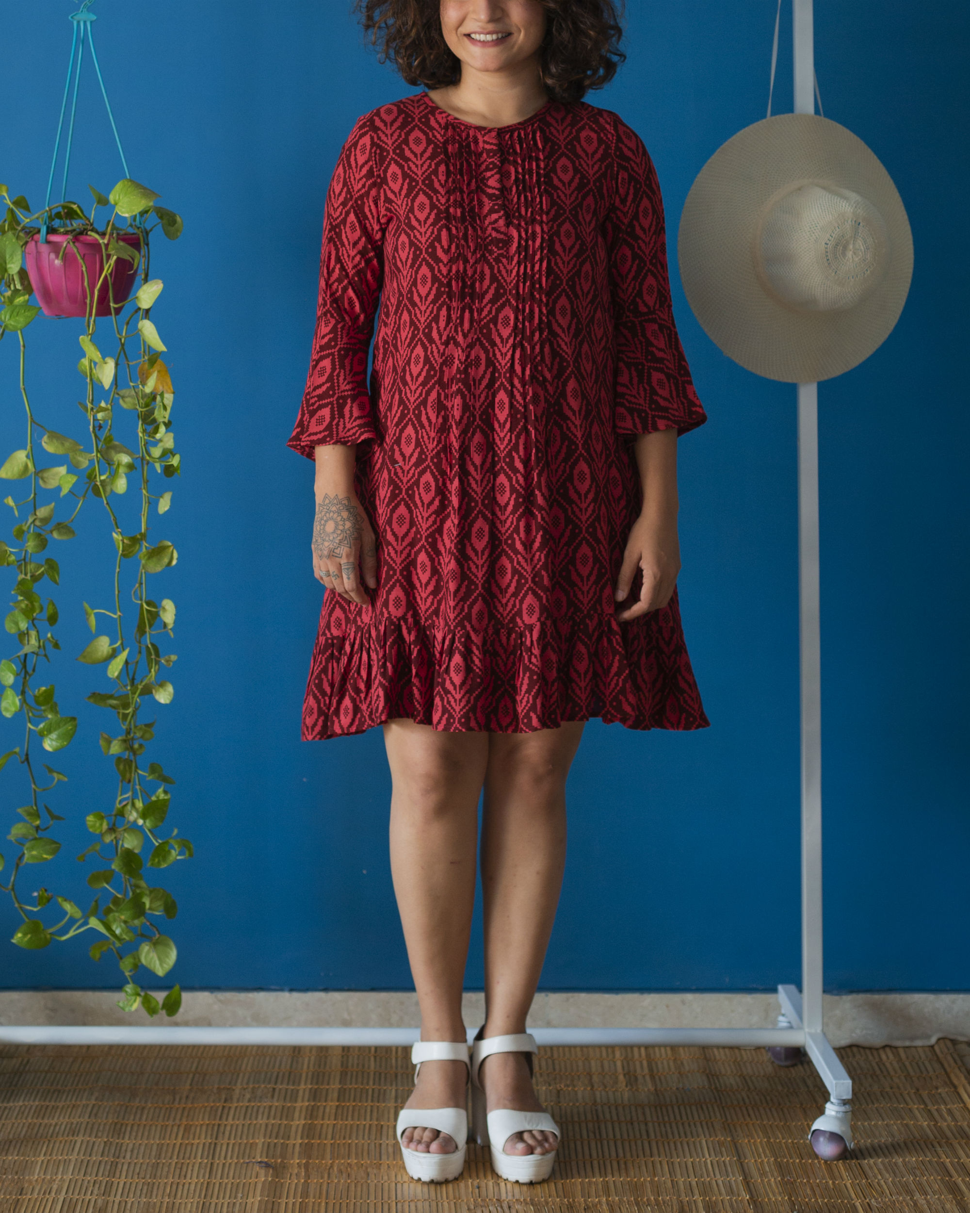 Wine Red Pin tucks Dress