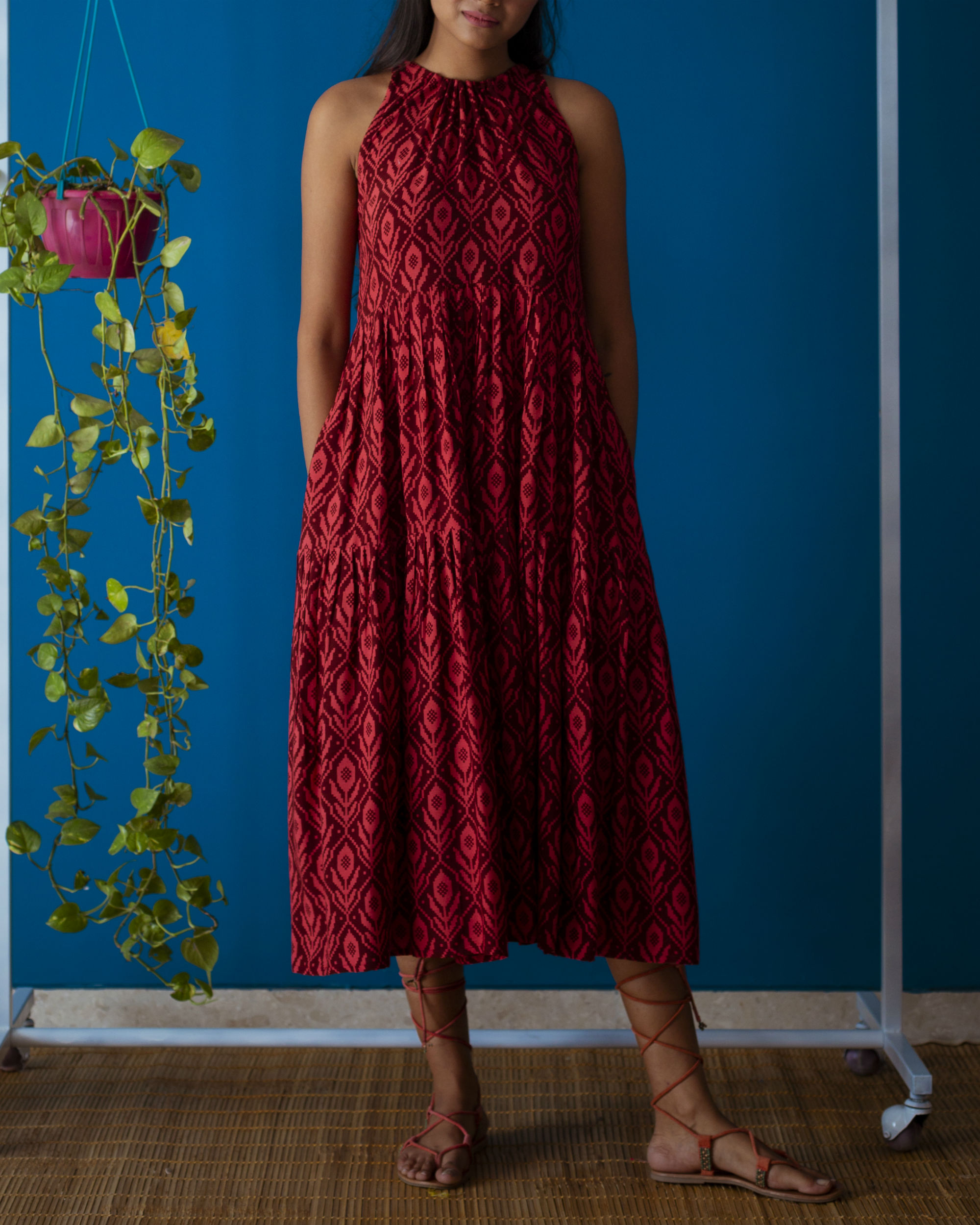 Red Drawstring Neck Midi Dress