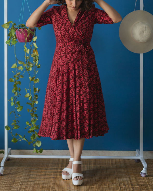 Wine Red Wrap Midi Dress