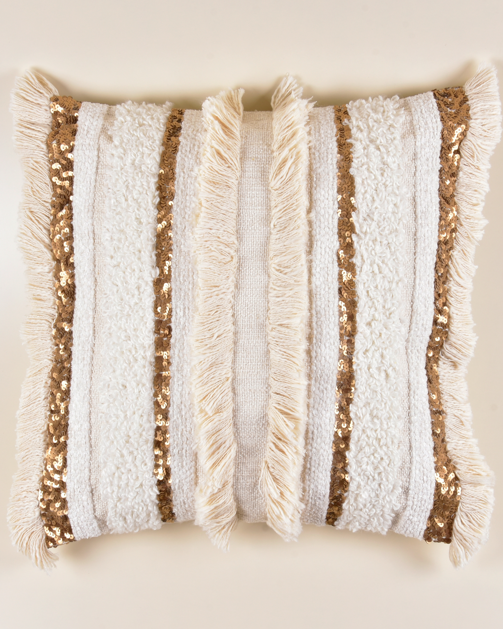 Gold and cream fringed cushion cover