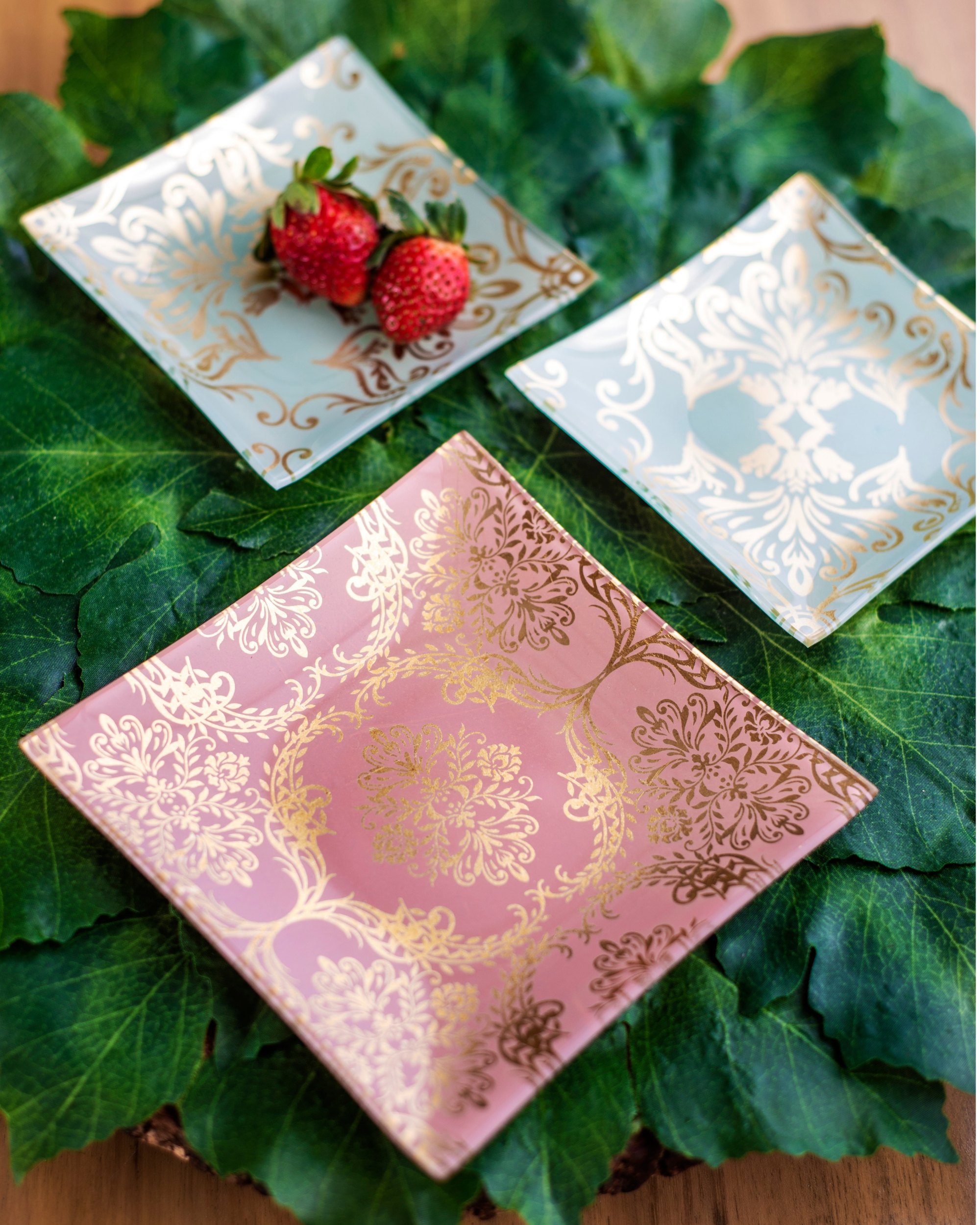 Pink glass mini platters with gold foil print - set of two