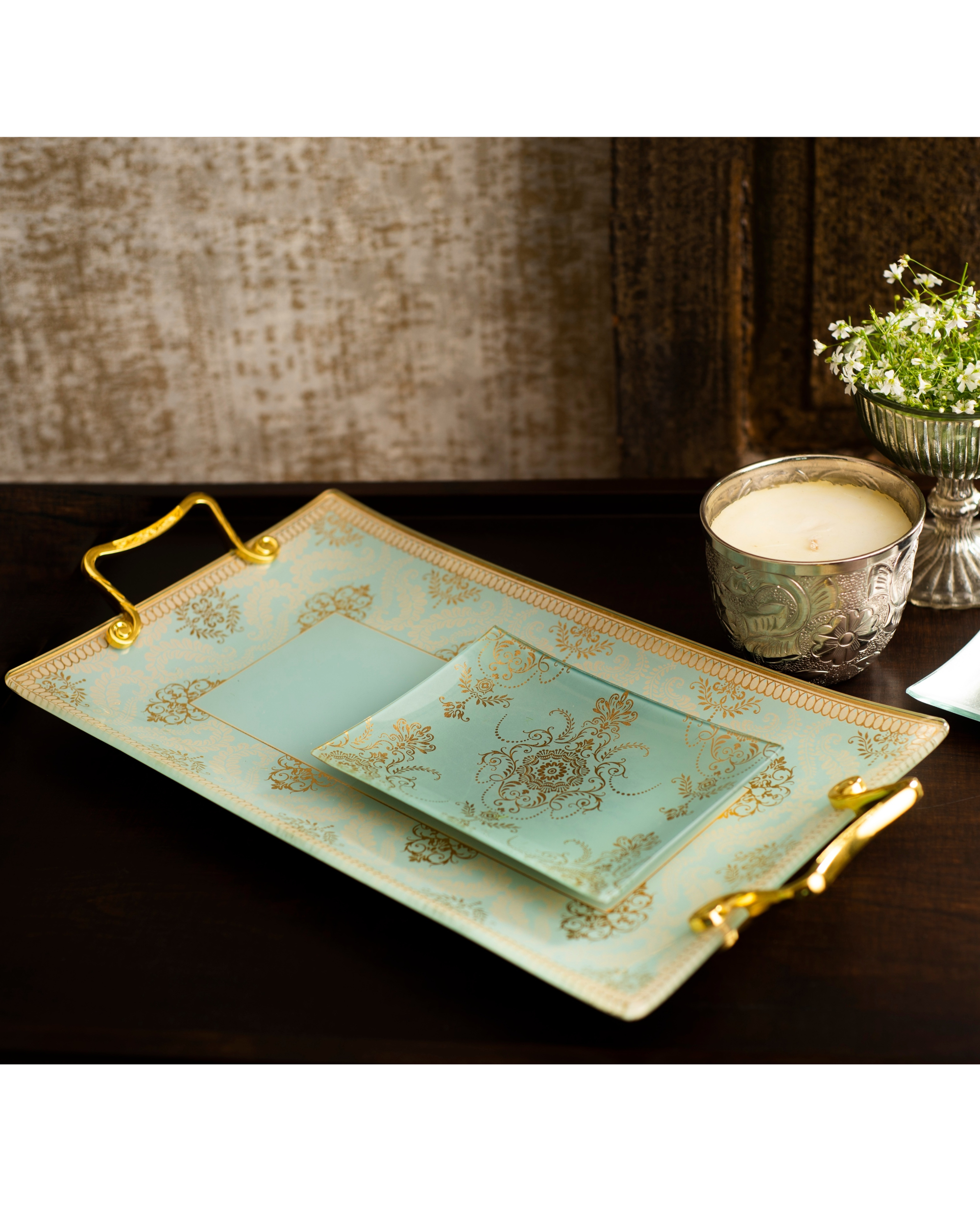 Green glass rectangle tray with gold foil work and Metal Alloy Handles