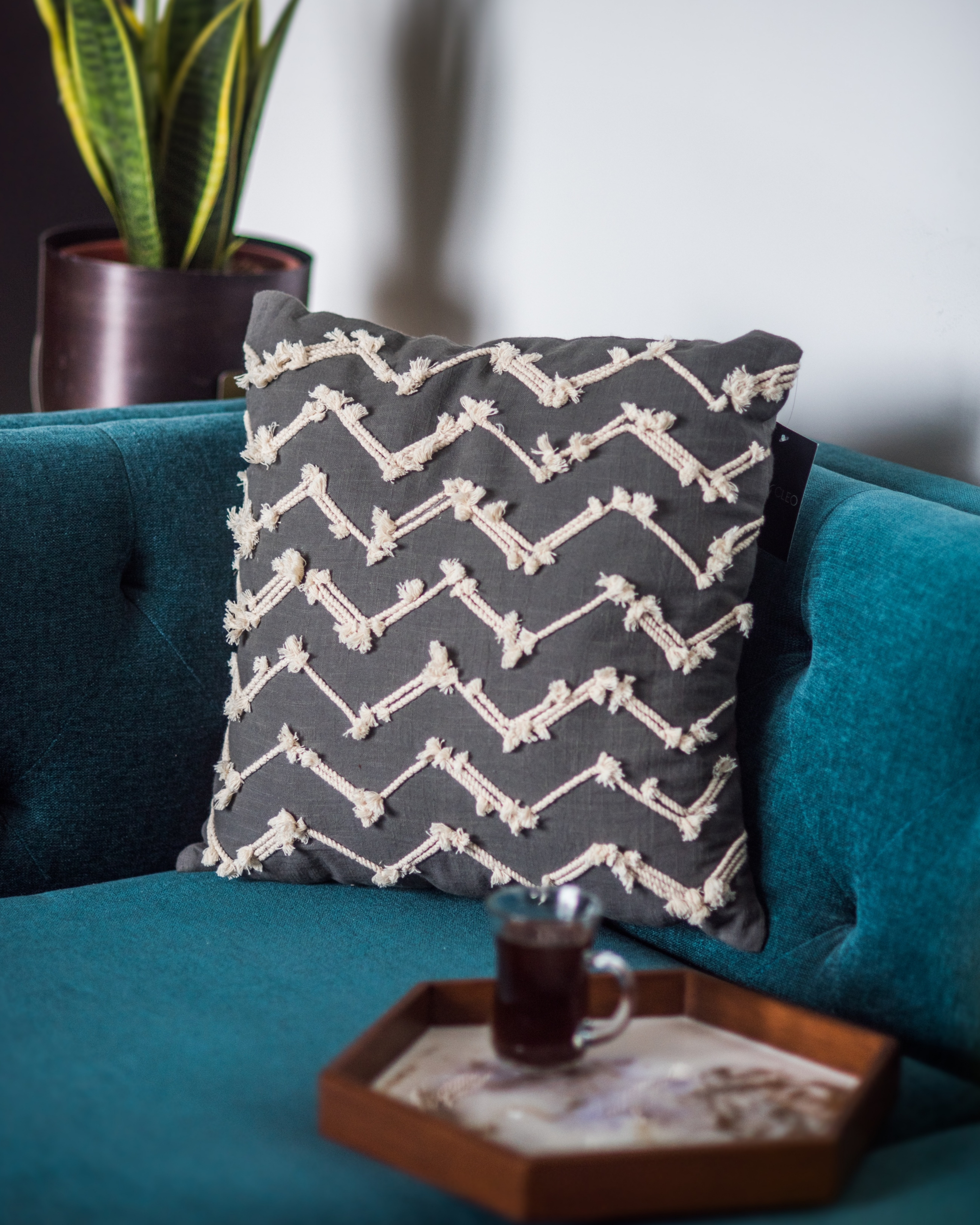 Denmark grey waves cushion cover