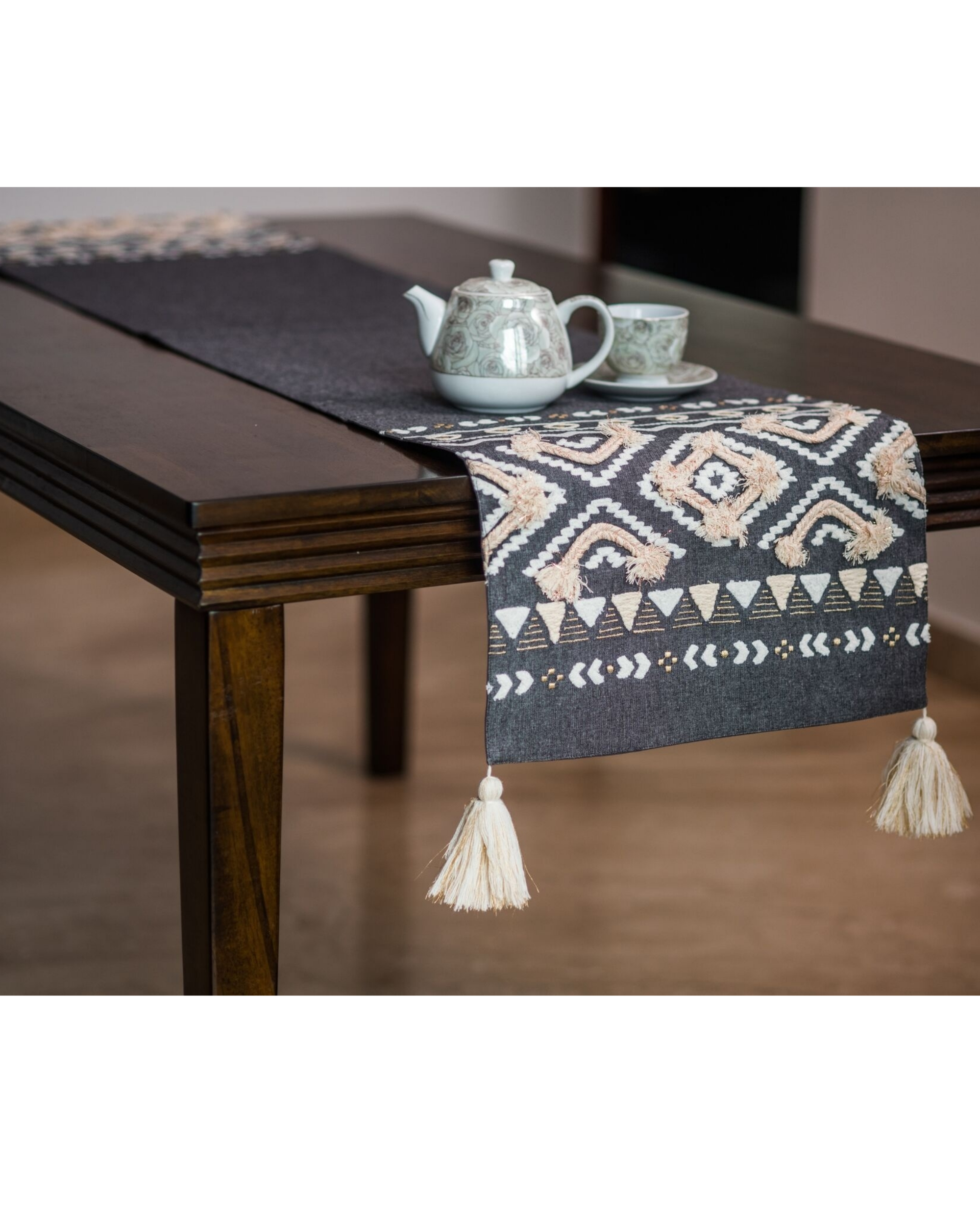 Grey and off white diamond small table runner