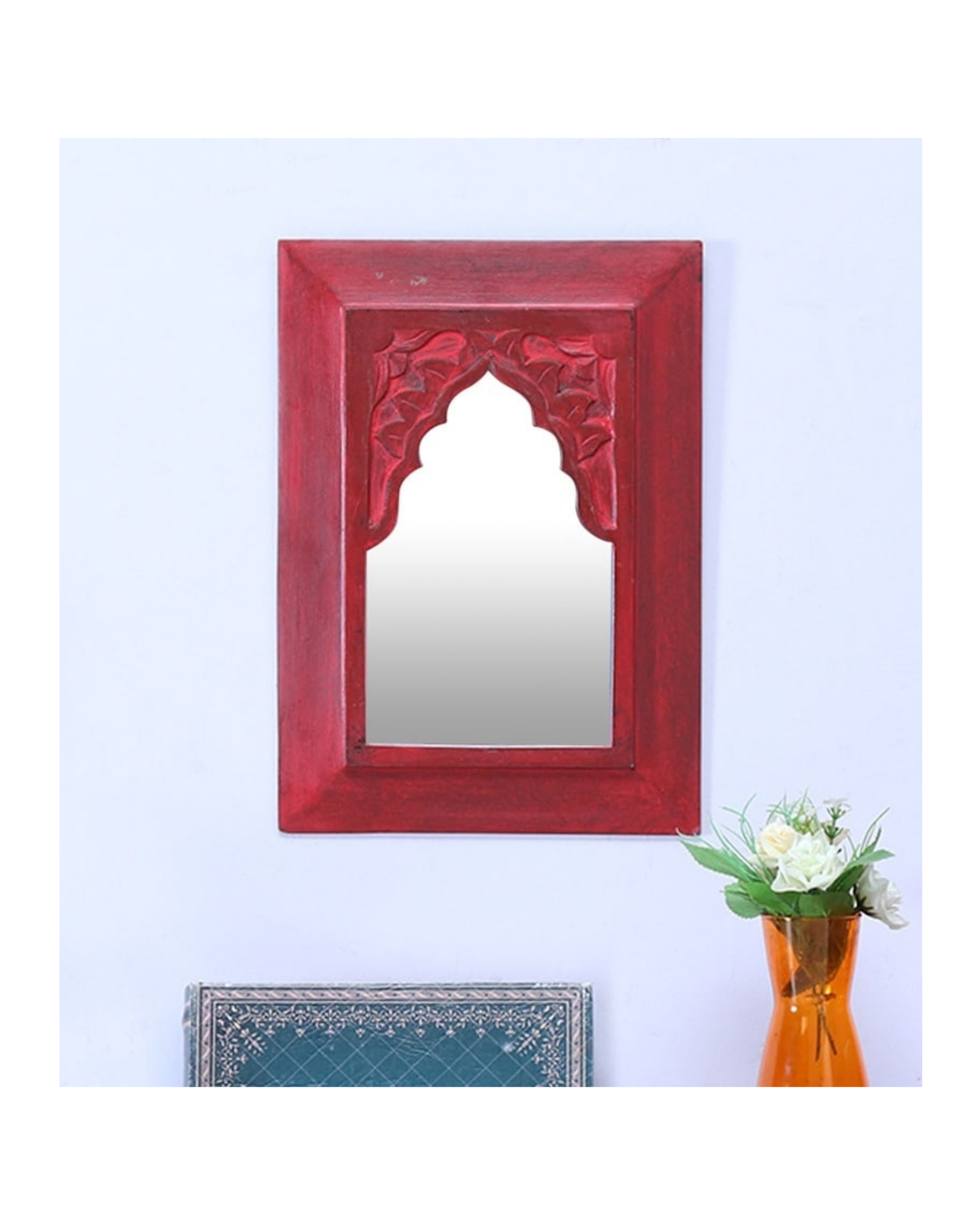 Vintage red carved minaret mirror