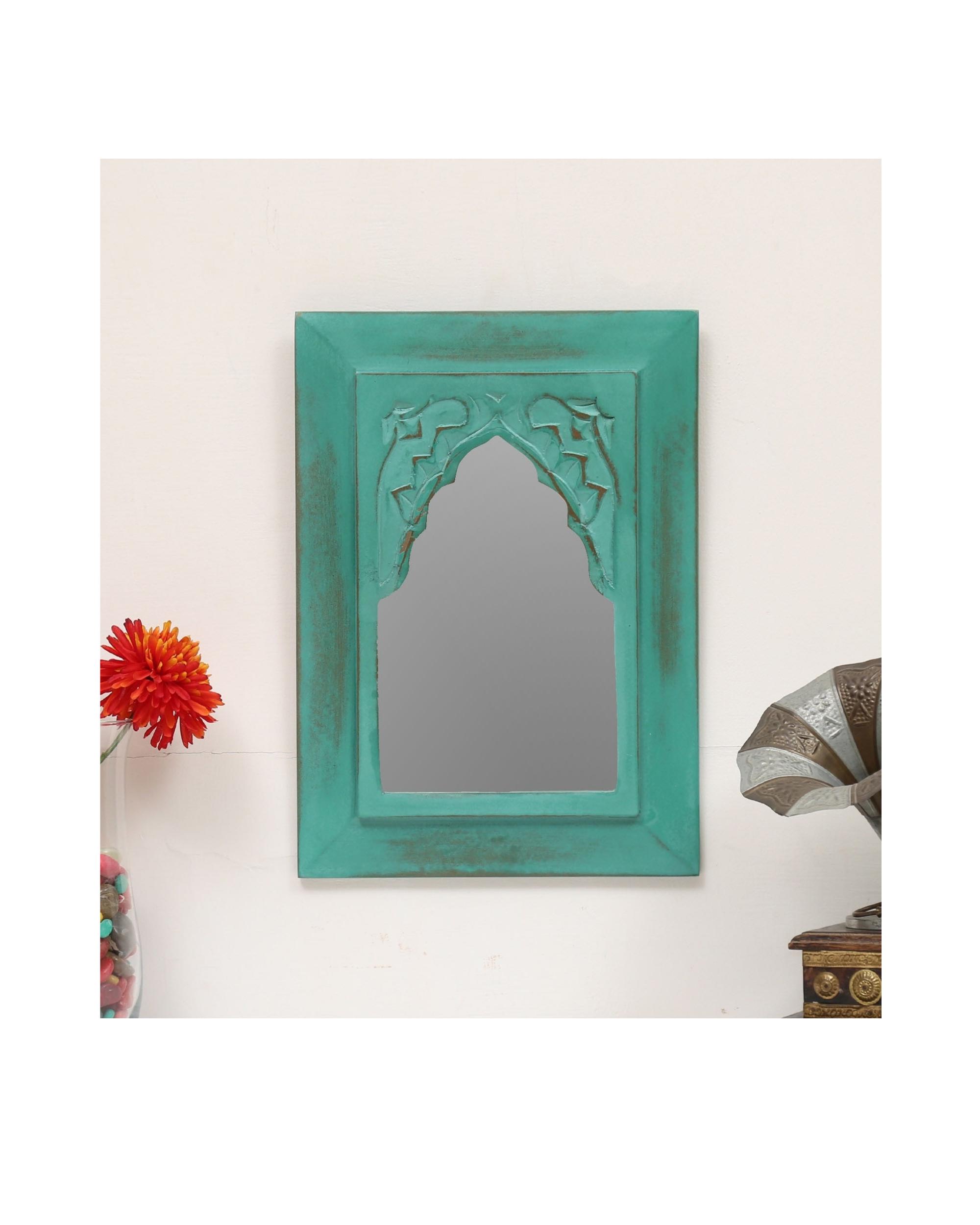 Vintage teal green carved minaret mirror
