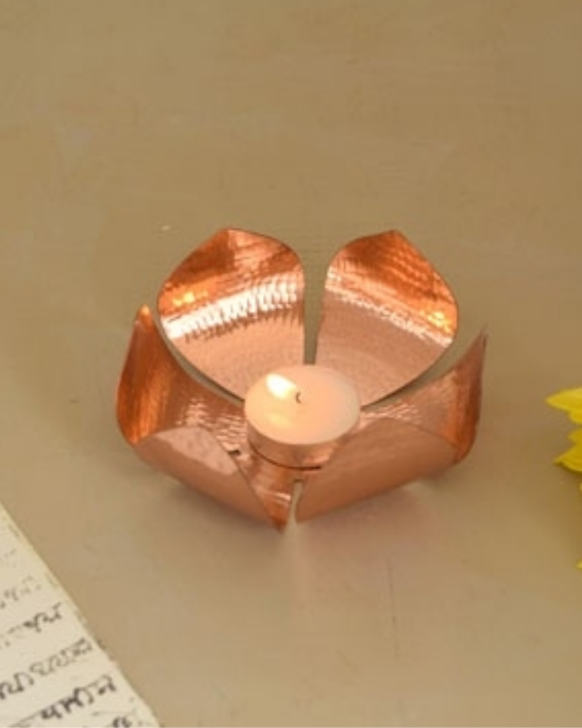 Petiole copper tea light holder