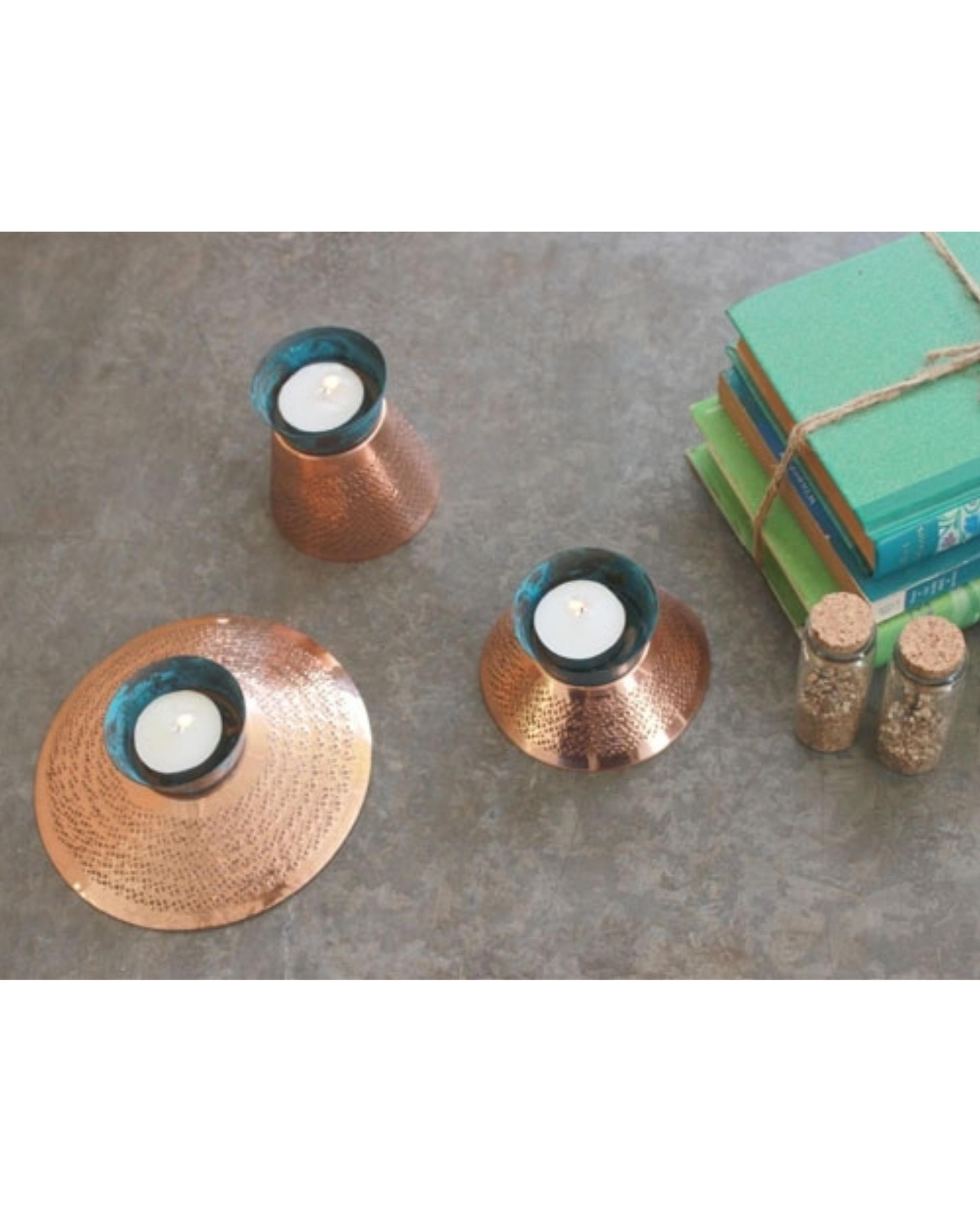 Teal appeal tea light holder - large