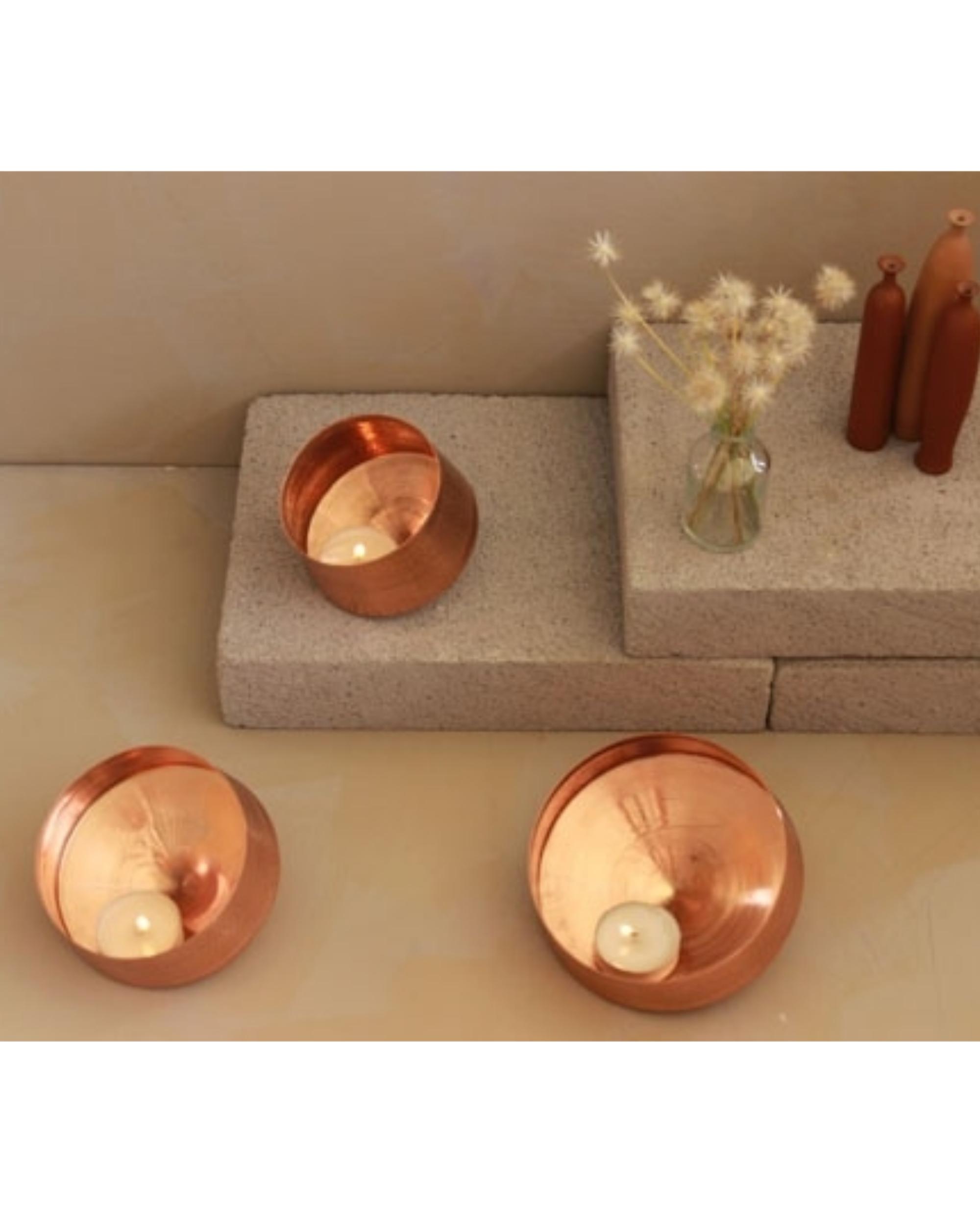Whirling copper tea light holder - small