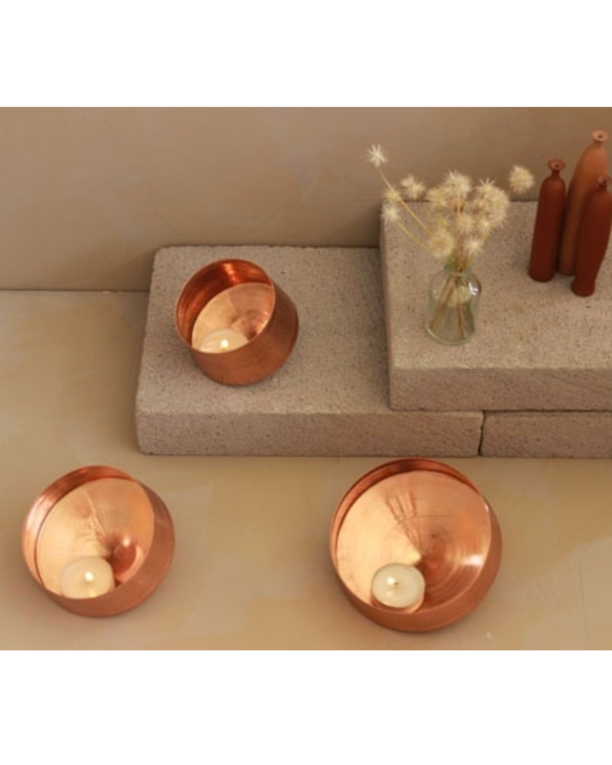 Whirling copper tea light holder - large