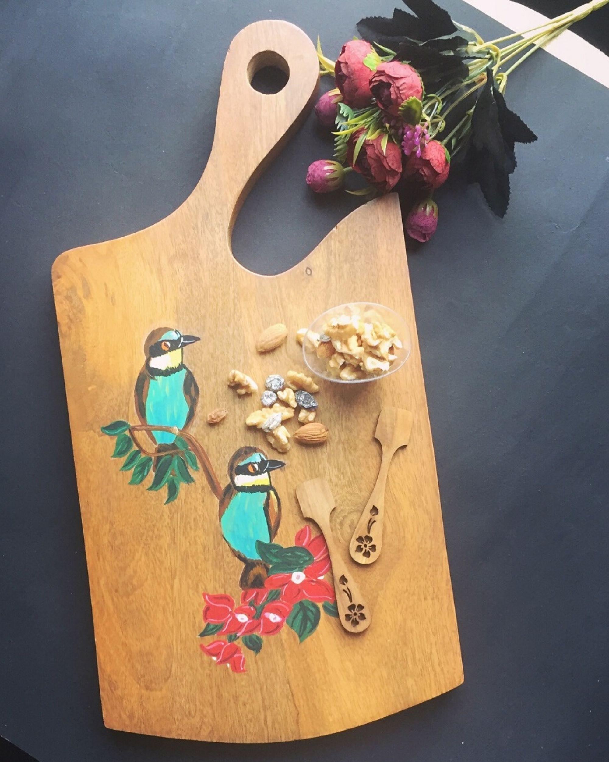 Hand painted birdie platter