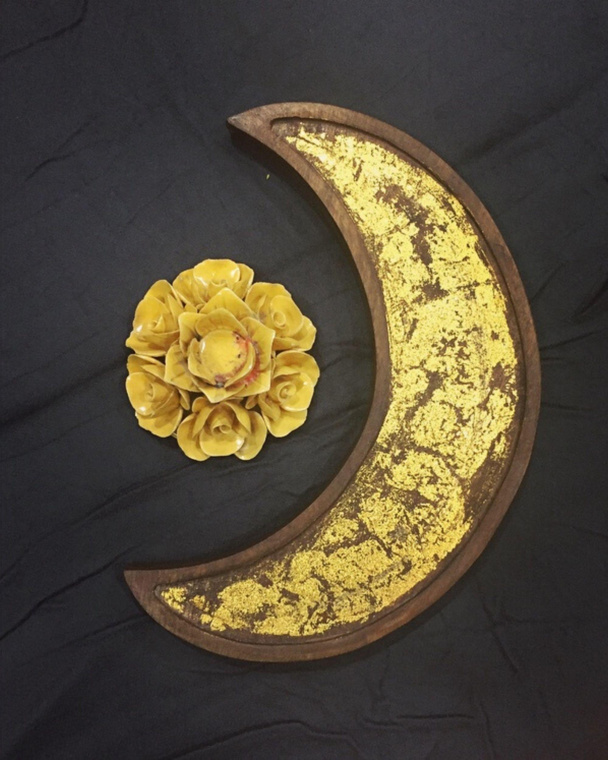 Golden moon wooden platter