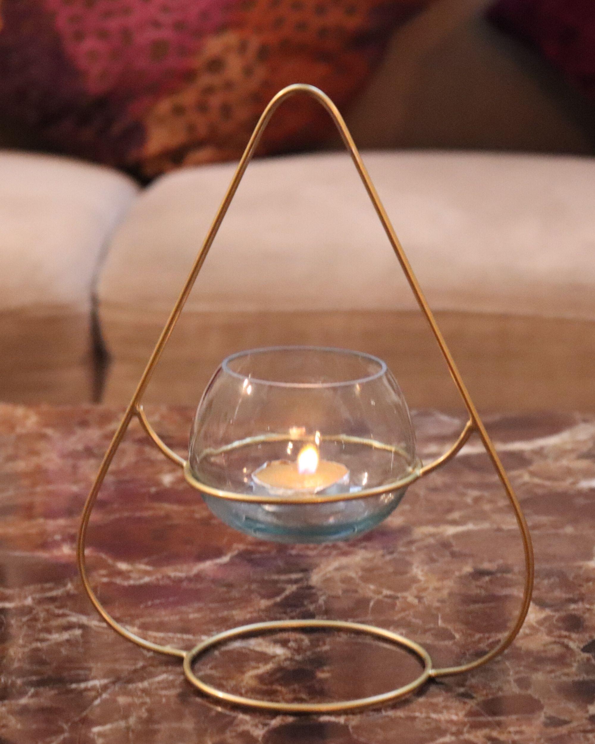 Triangular metal tea light holder with glass vase- Set Of Two