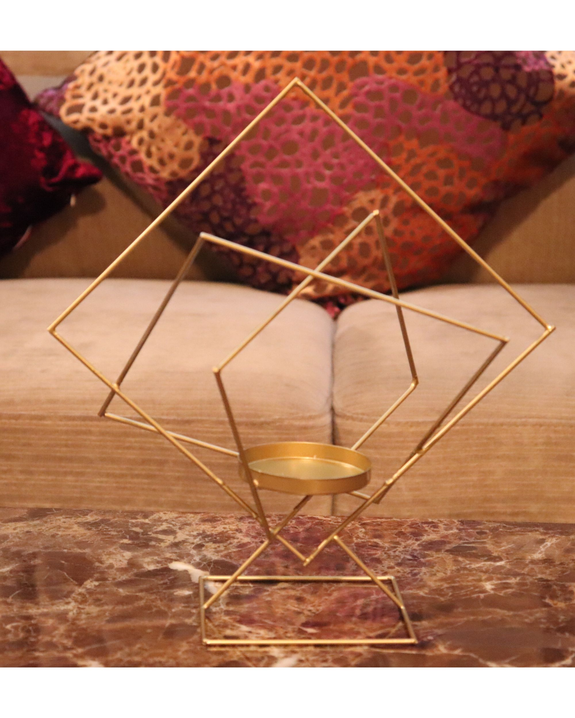 Geometrical metal candle holder
