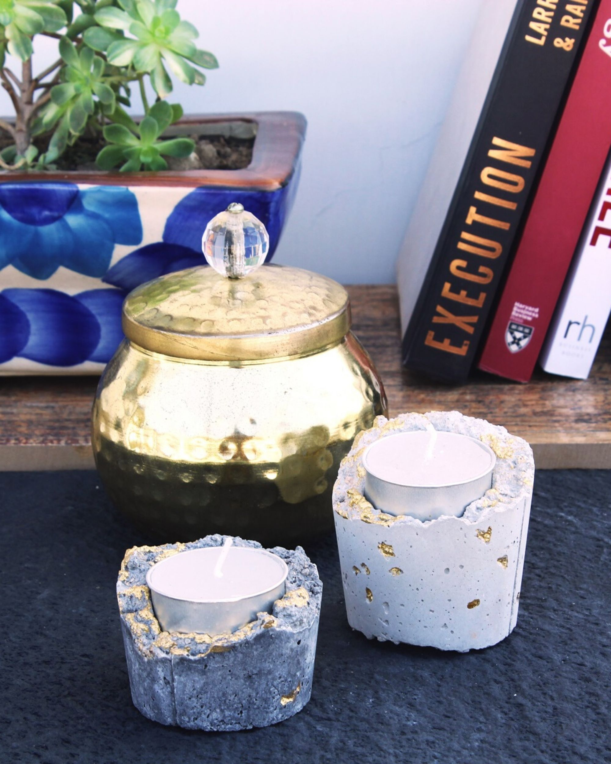 Concrete gold tea light holder- Set Of Two