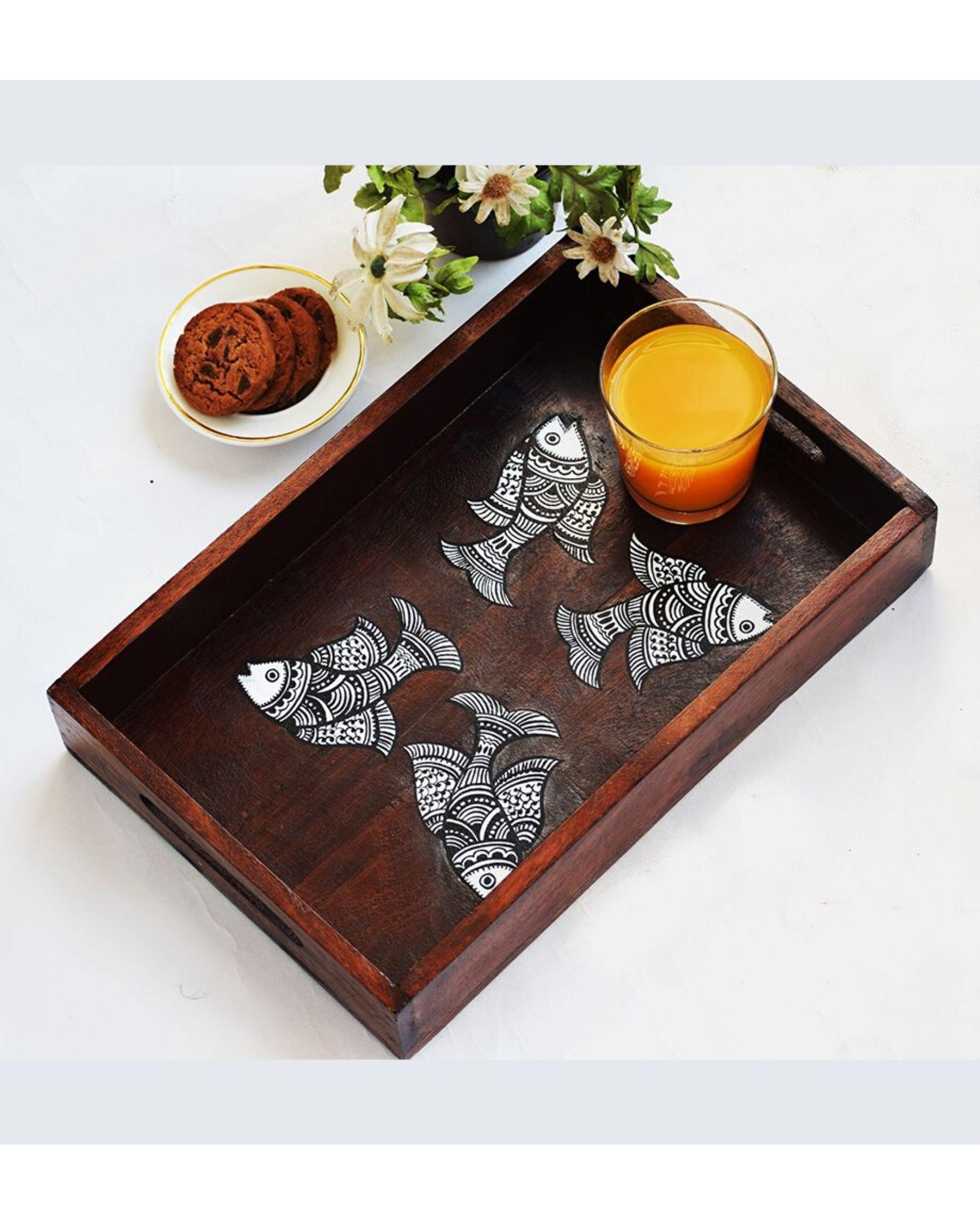 Hand painted madhubani fish tray