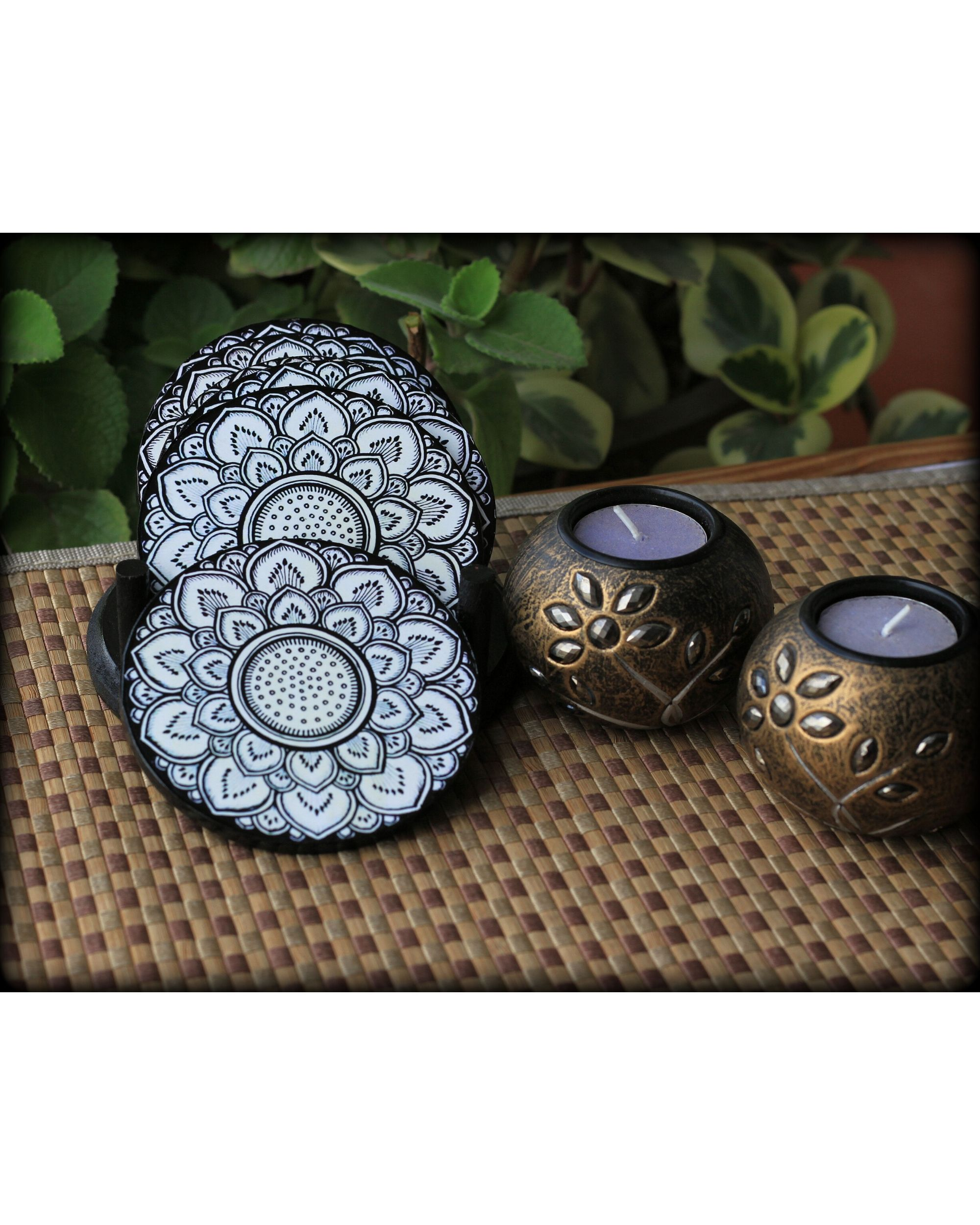 Mandala wooden coasters with stand- Set Of Seven
