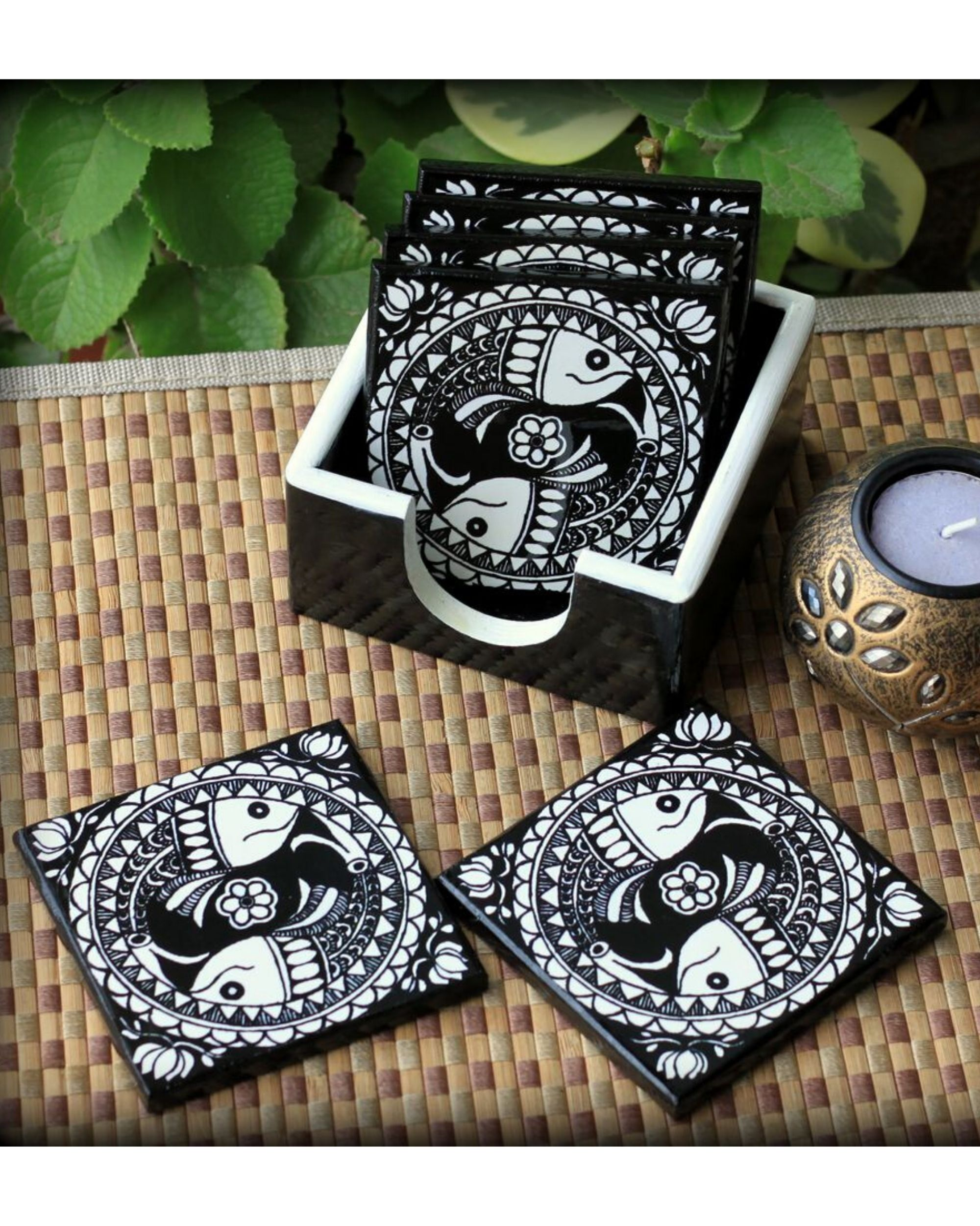 Matsya wooden coasters with stand- Set Of Seven