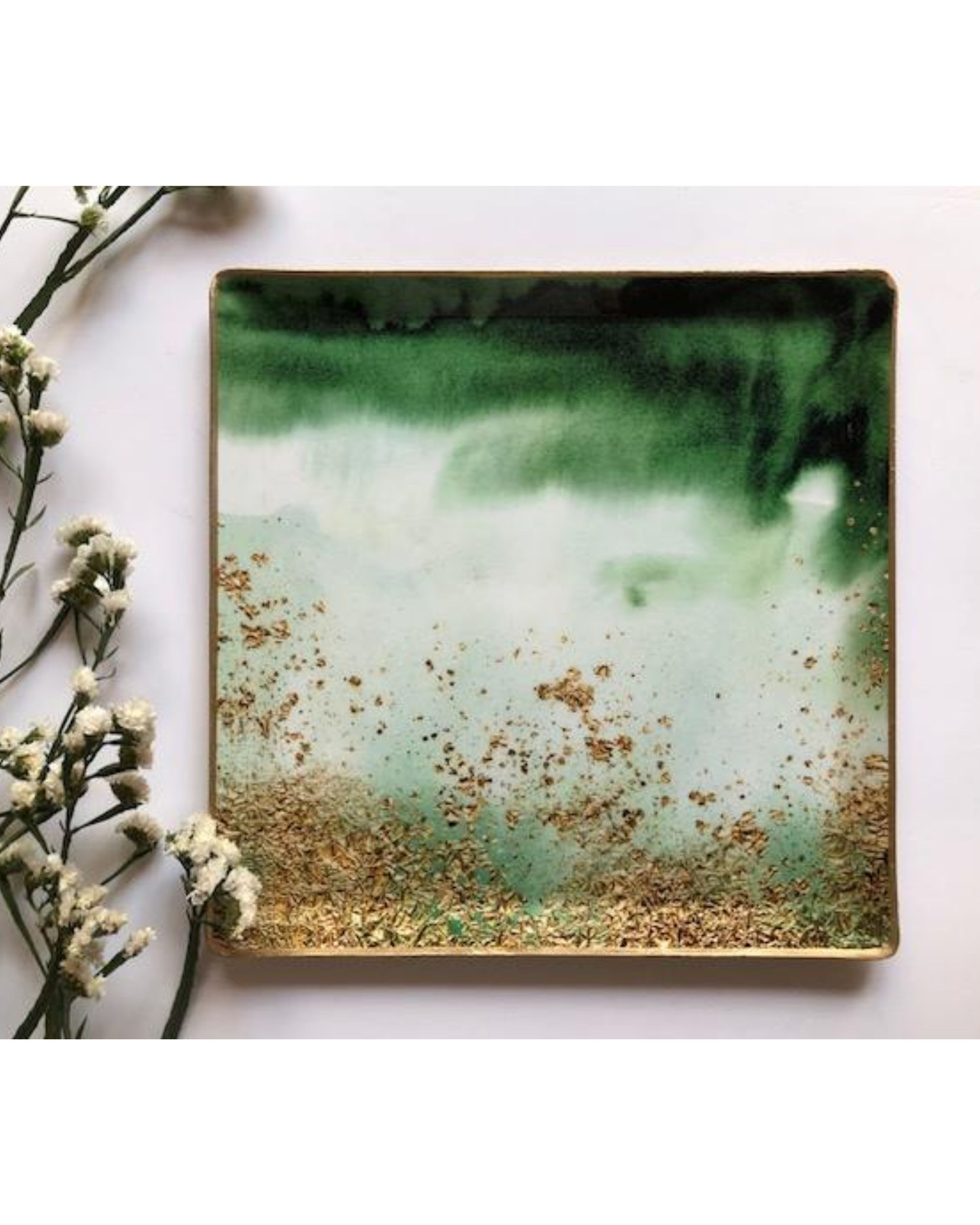 Green and gold square metal platter - large