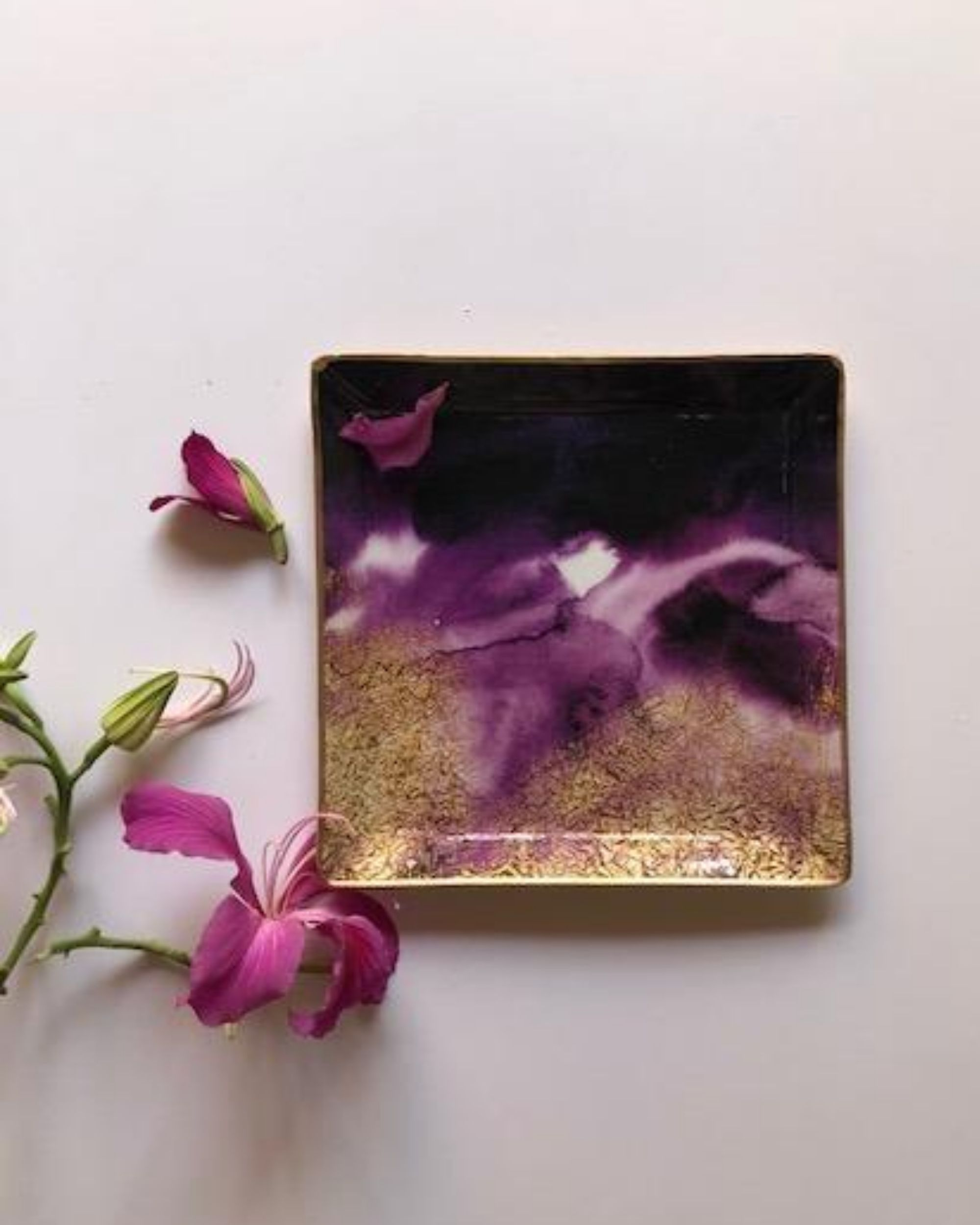 Purple and gold square metal platter - large