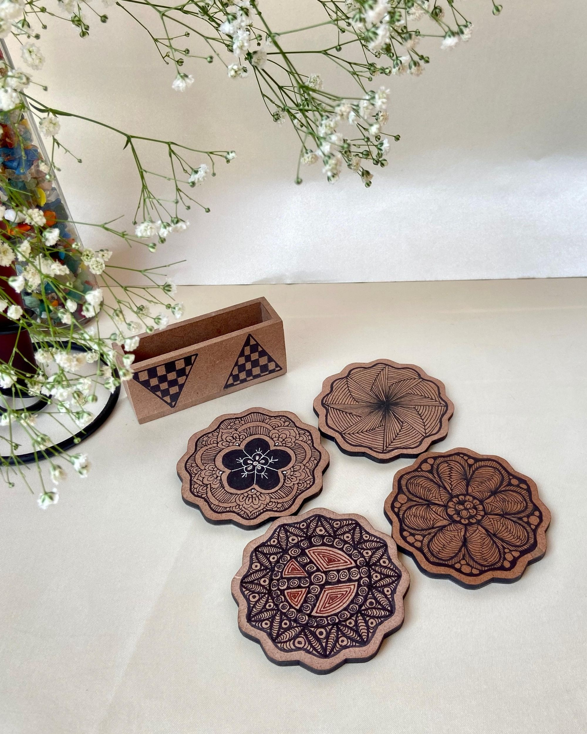 Mixed motif wooden coasters with stand - Set Of Five