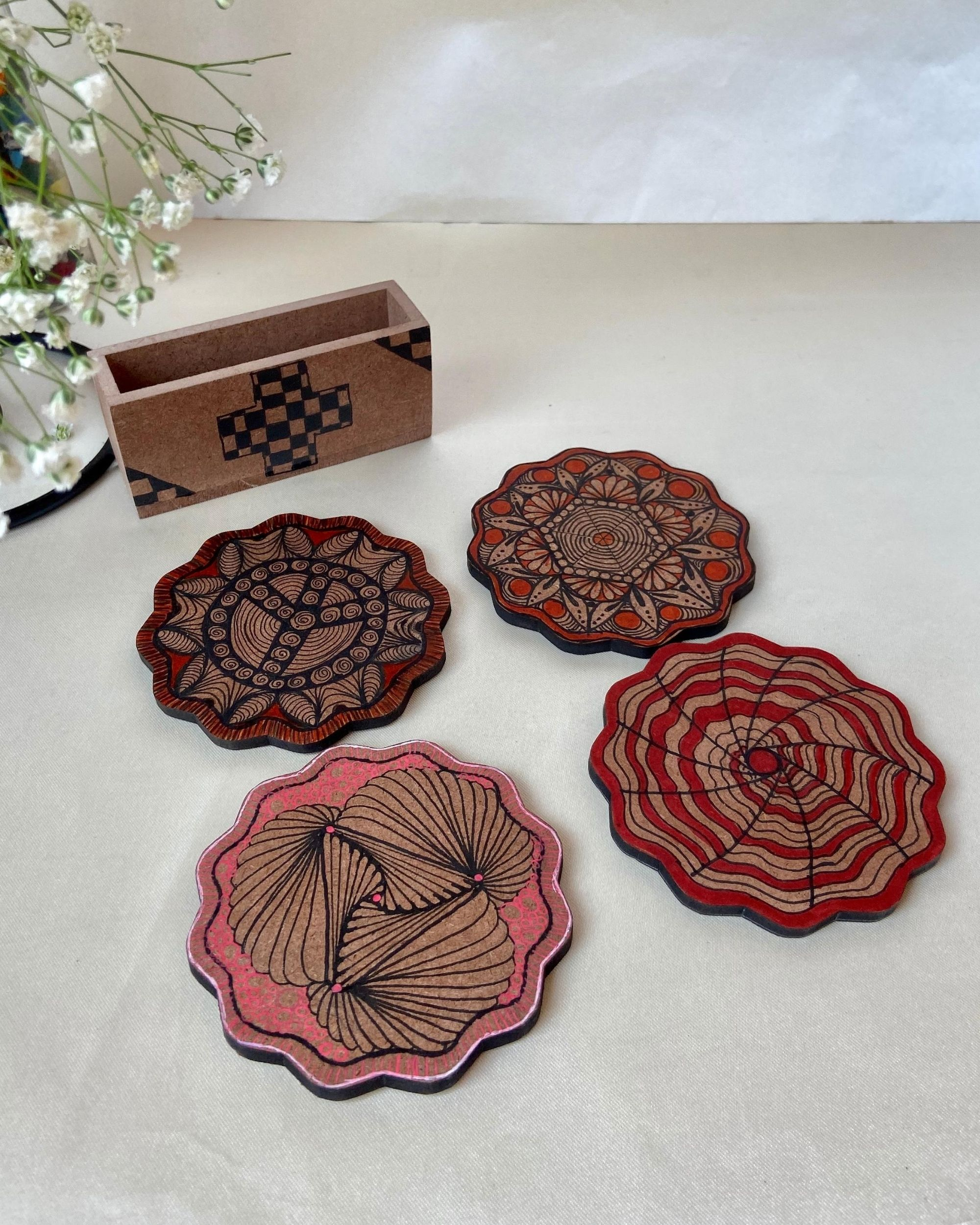 Mixed motif hand made coasters with stand - Set Of Five