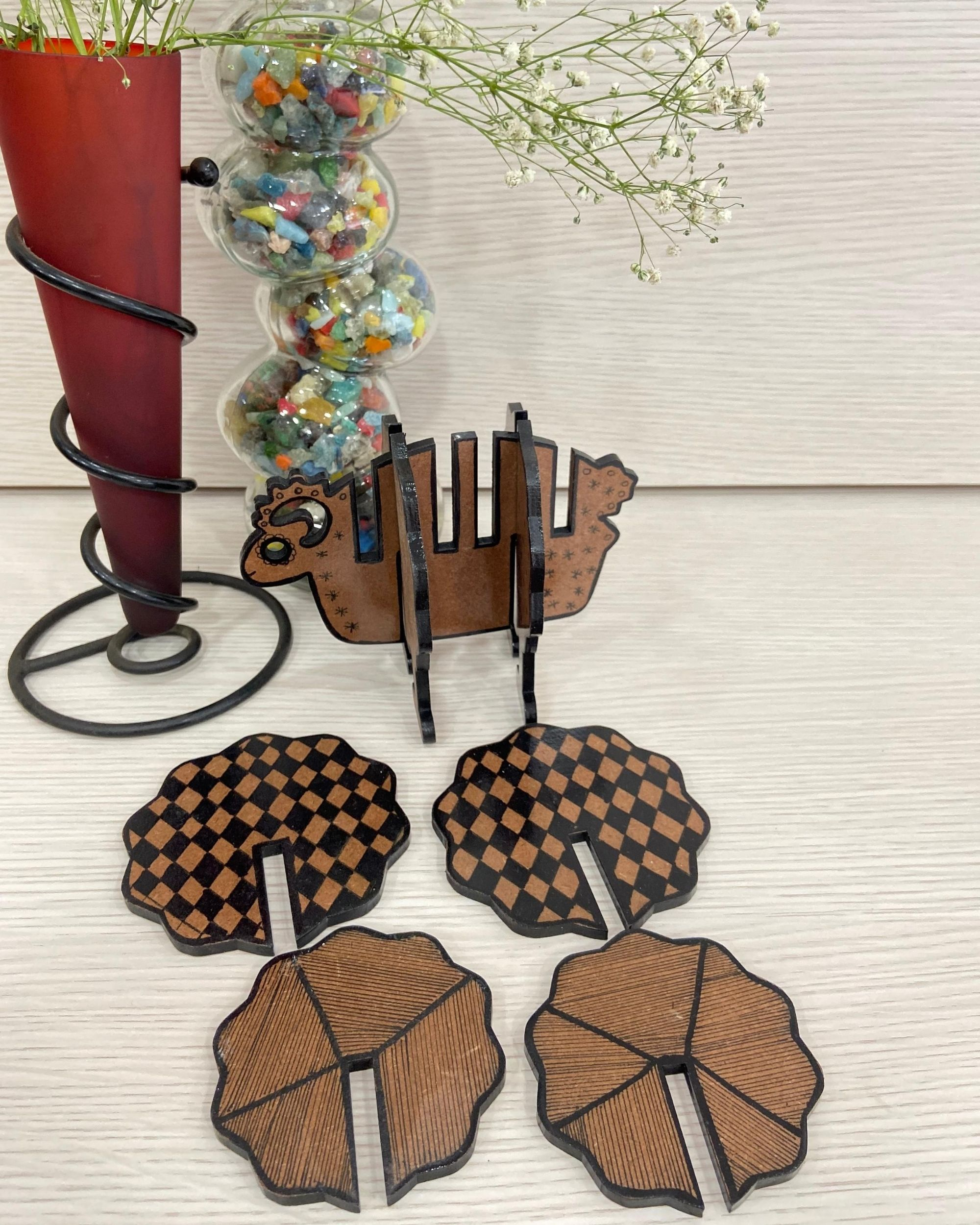Wooden coasters with sheep stand - Set Of Five