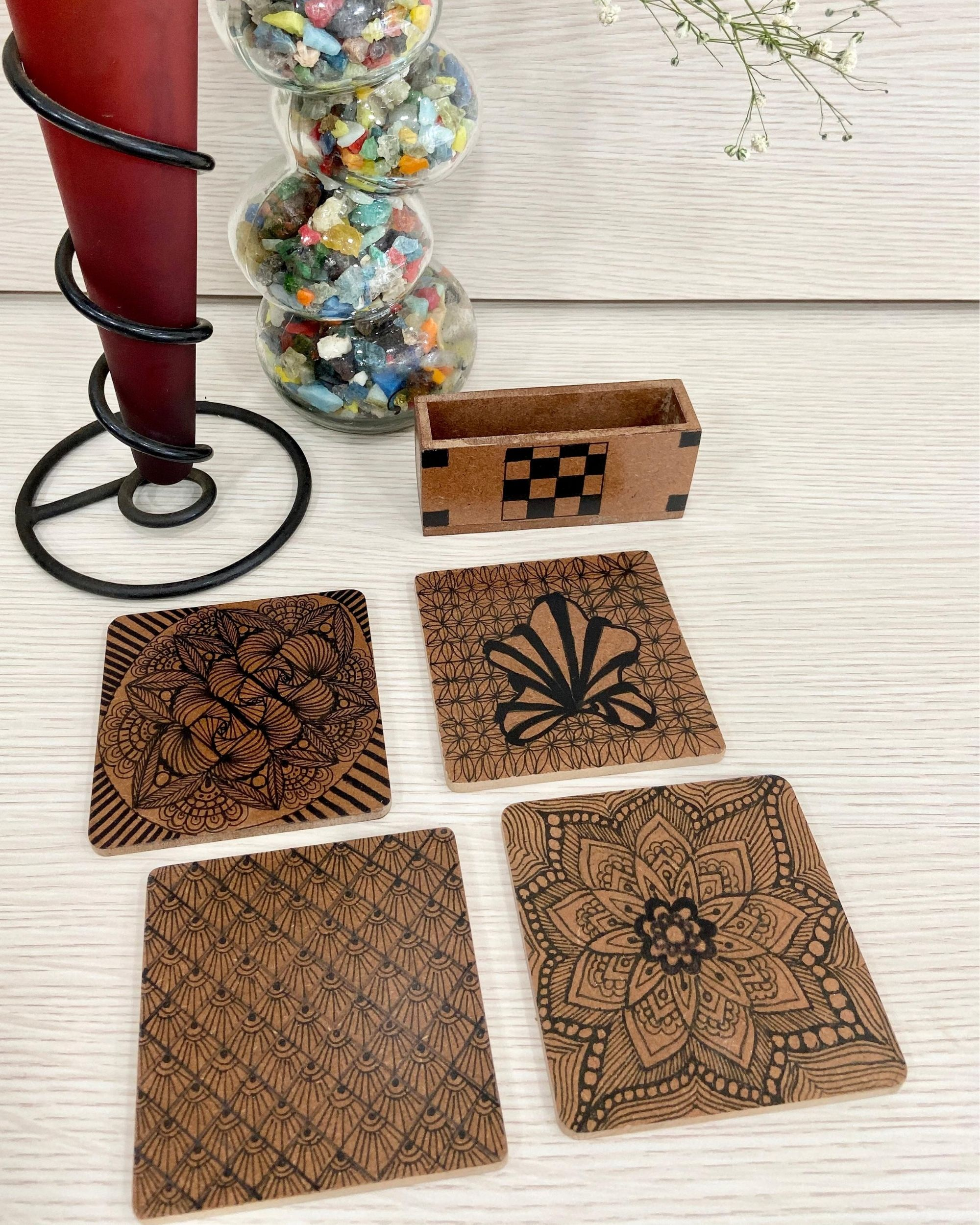 Black blossom wooden coasters with stand - Set Of Five