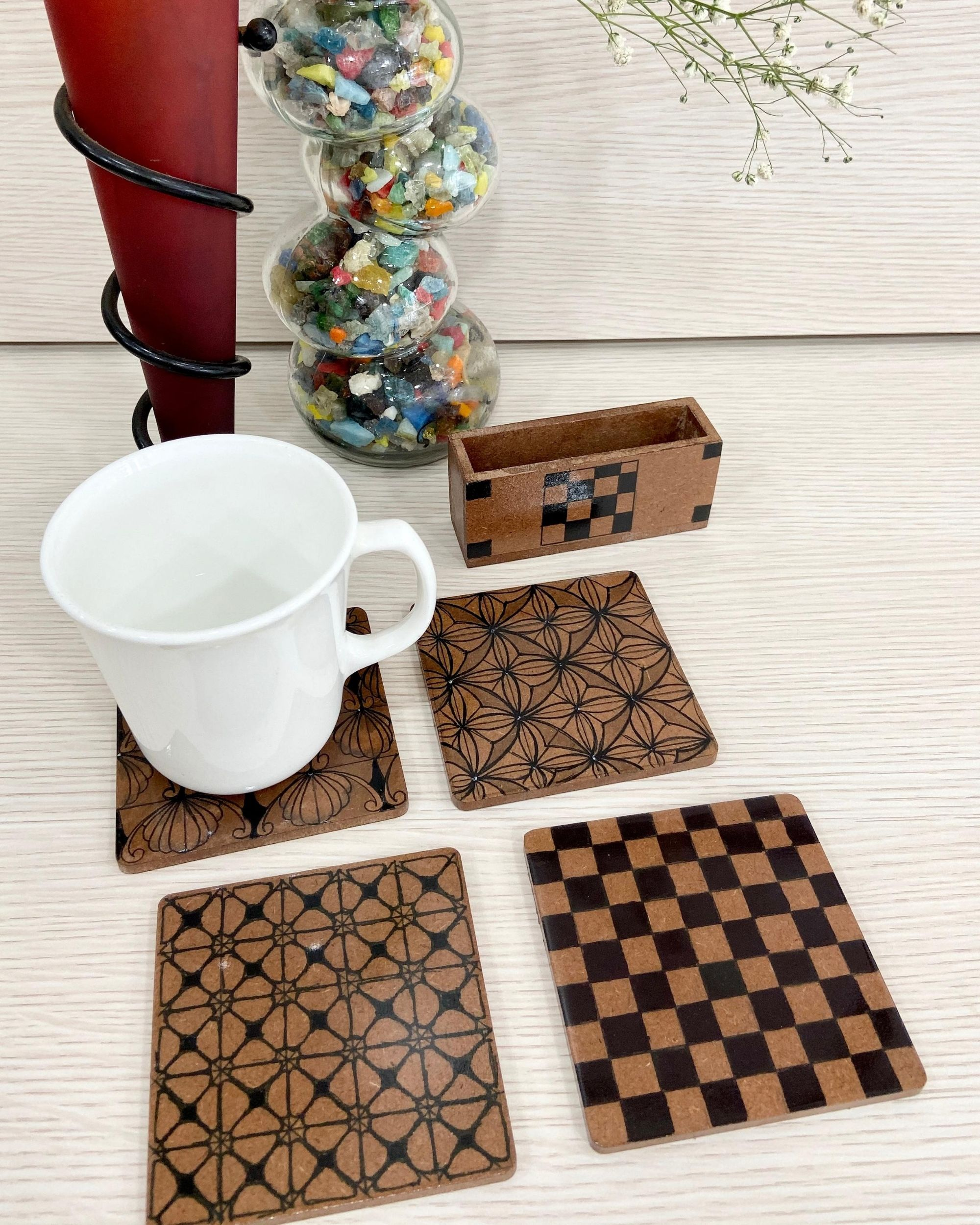 Geometric posy coasters with stand - Set Of Five