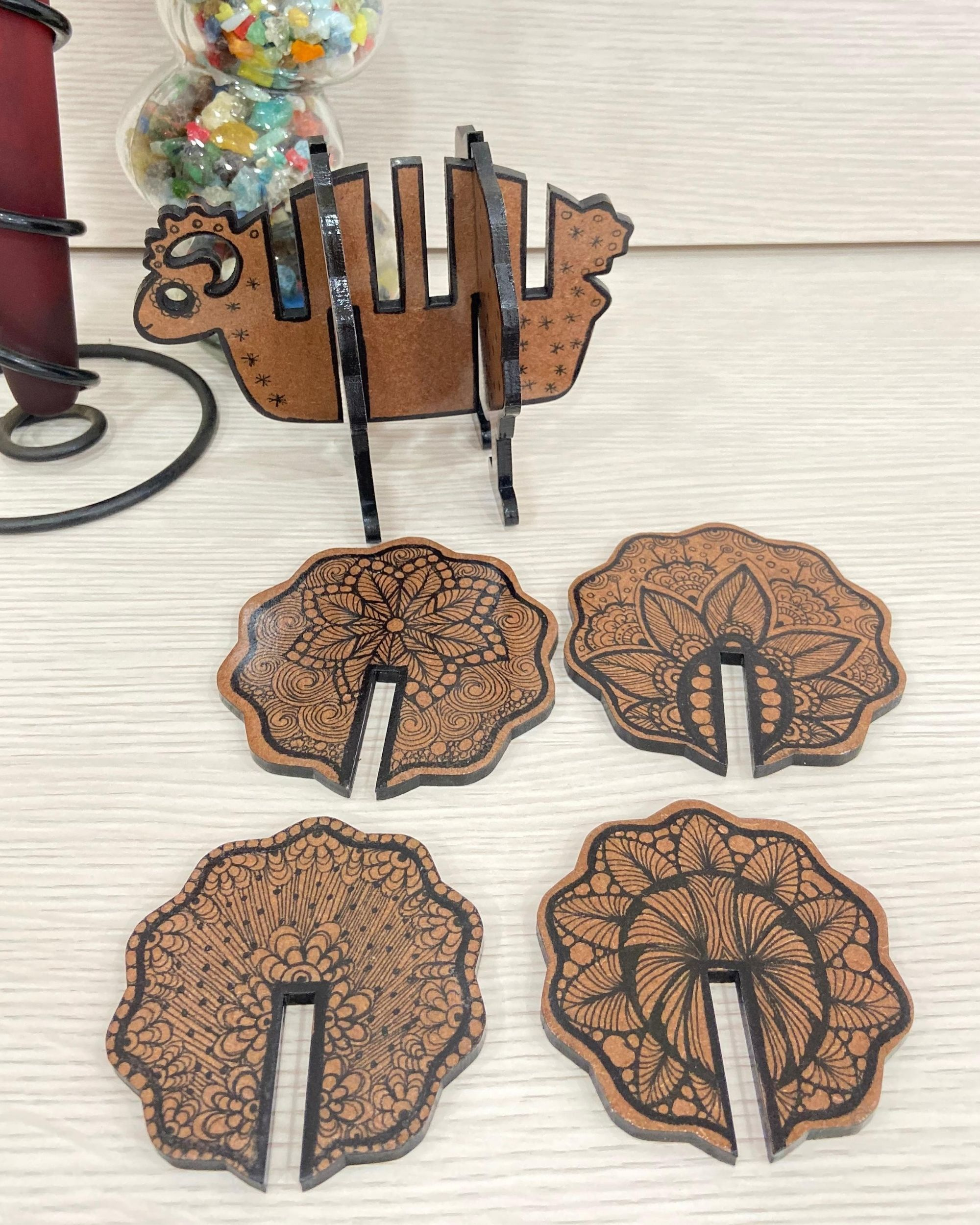 Floral coasters with sheep stand - Set Of Five