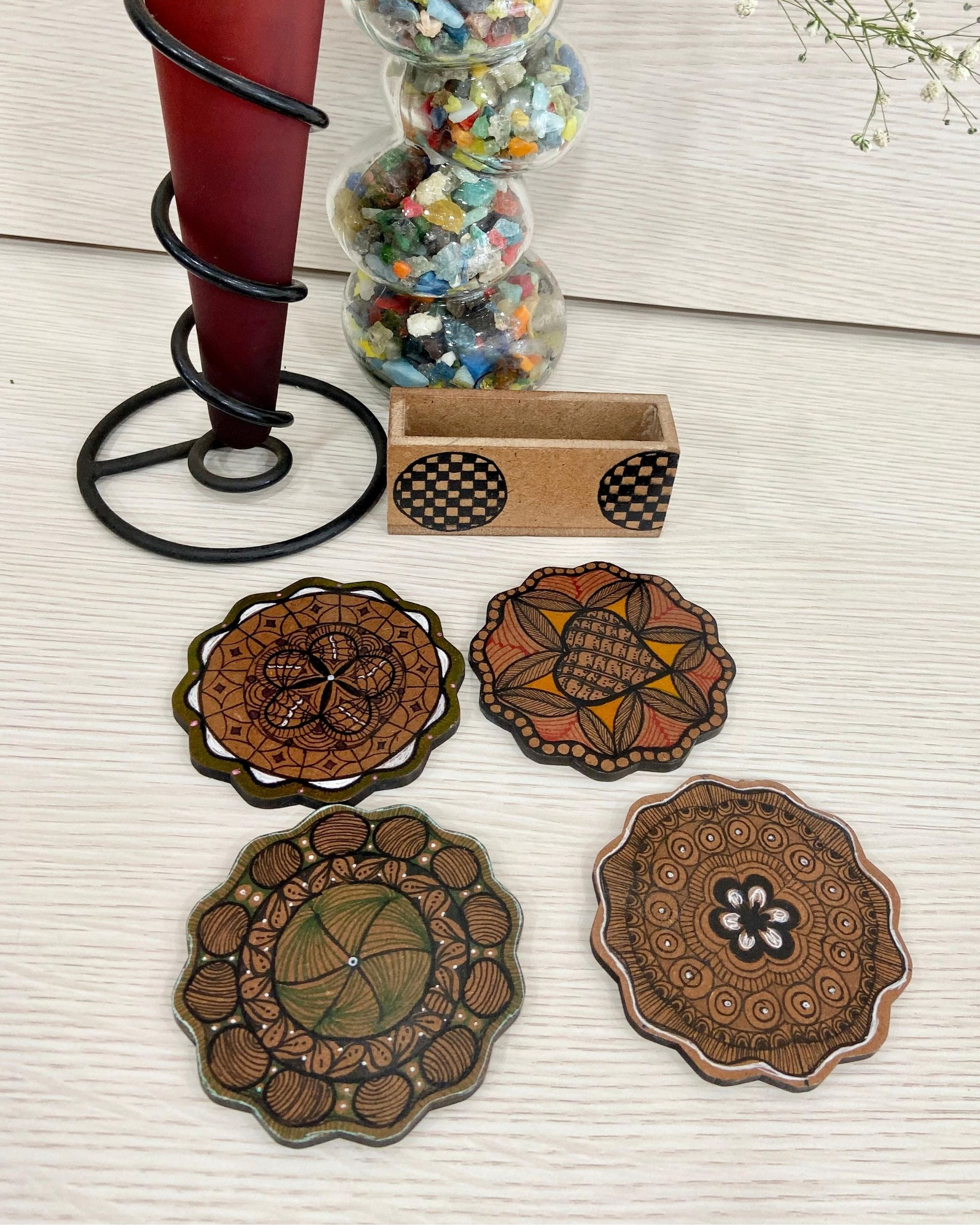 White floral wooden coasters with stand - Set Of Five