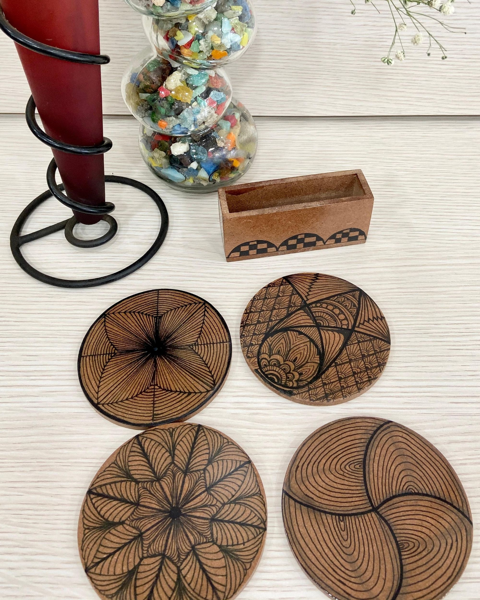 Hand made wooden coasters with stand - Set Of Five