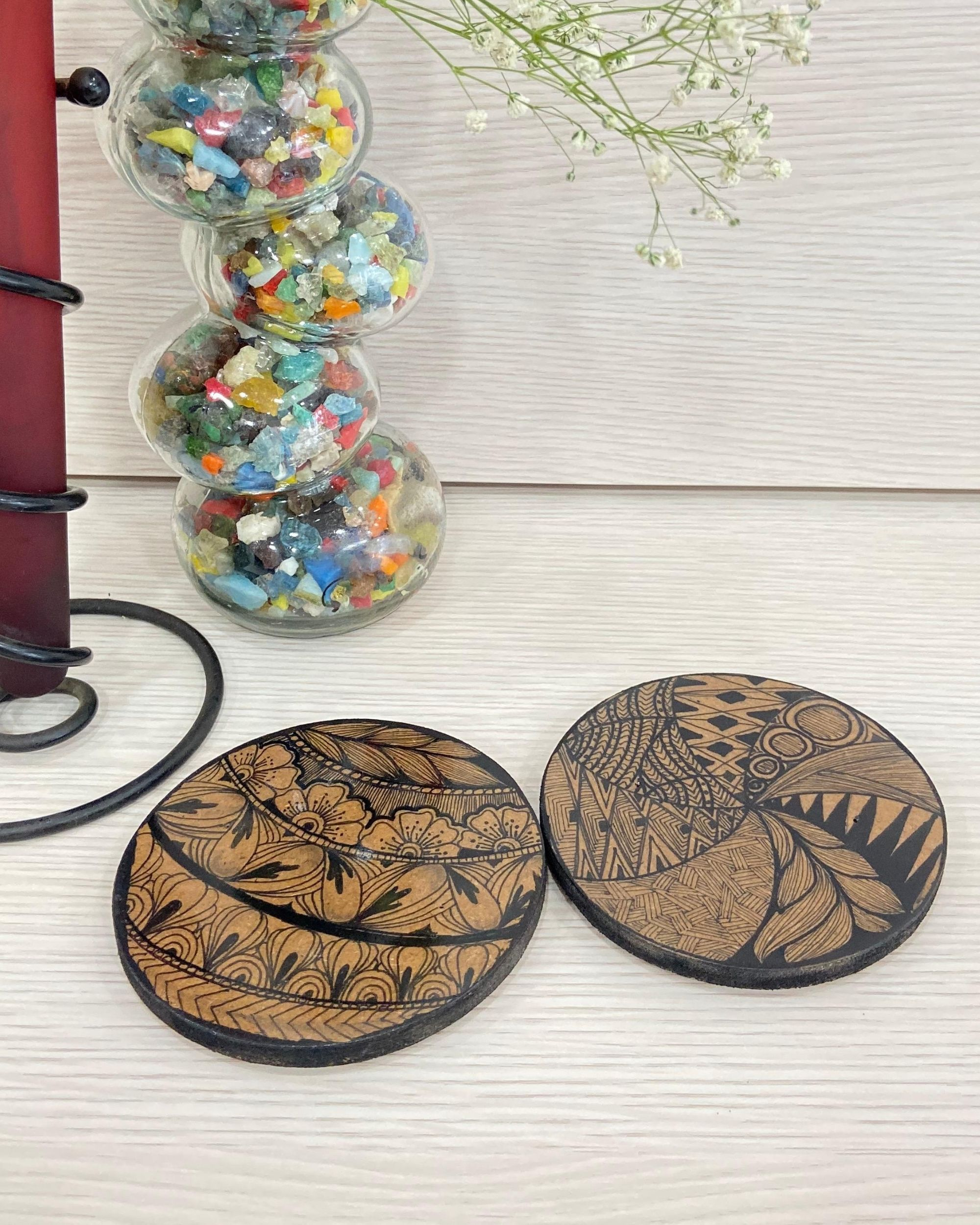 Wooden hand made hot plates - Set Of Two