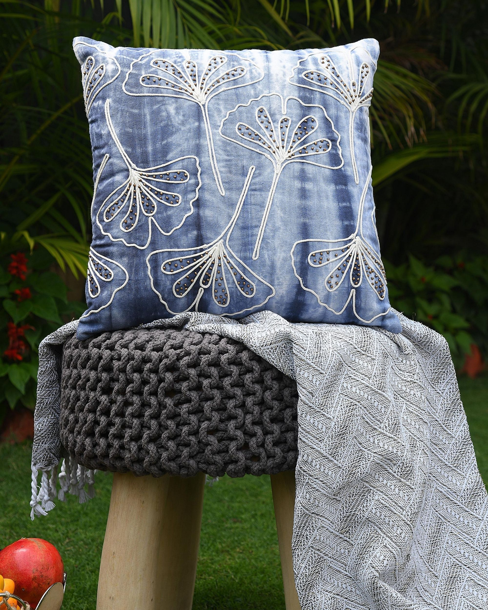 Shibori dyed embroidered cushion cover