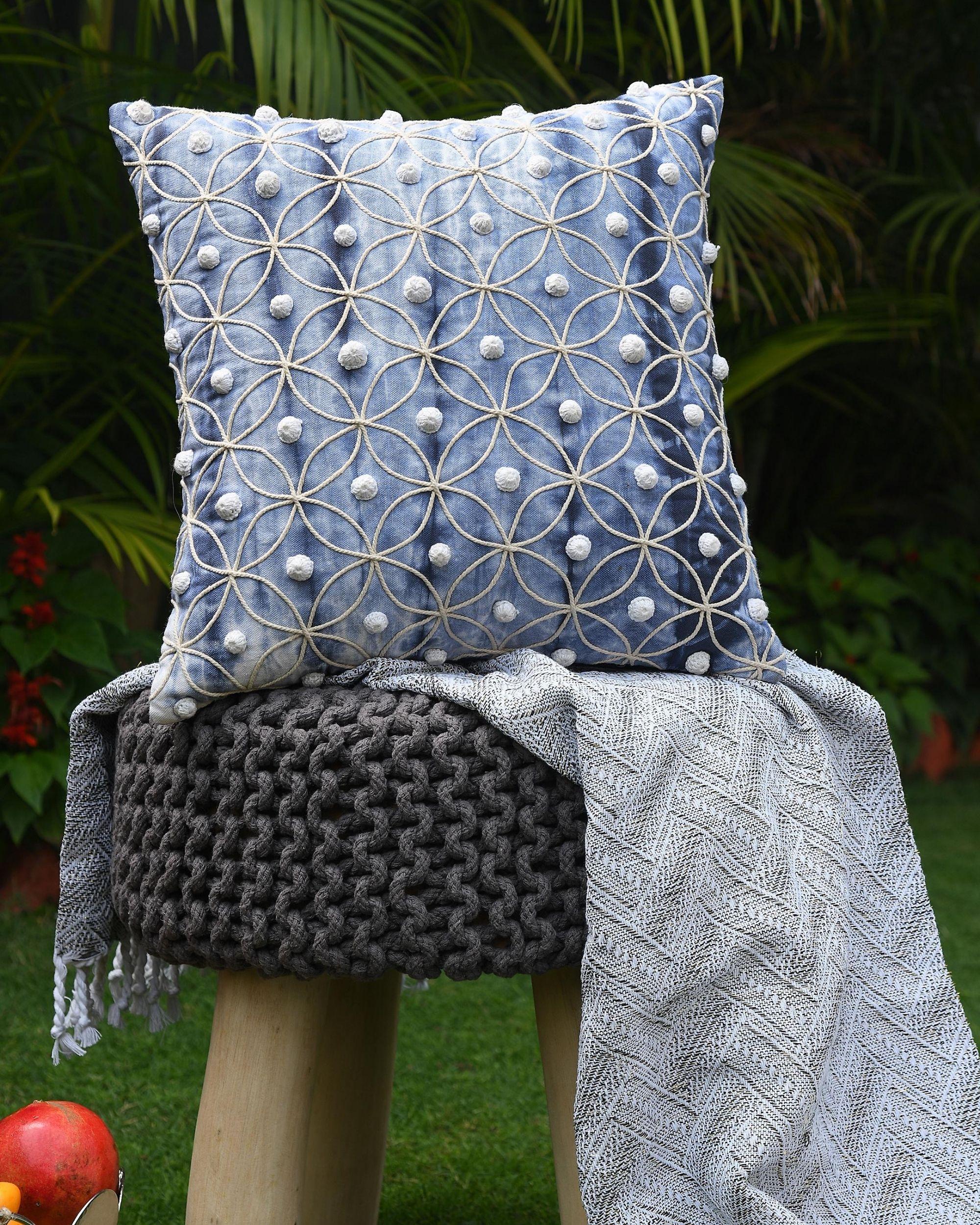 Shibori dyed crochet work cushion cover