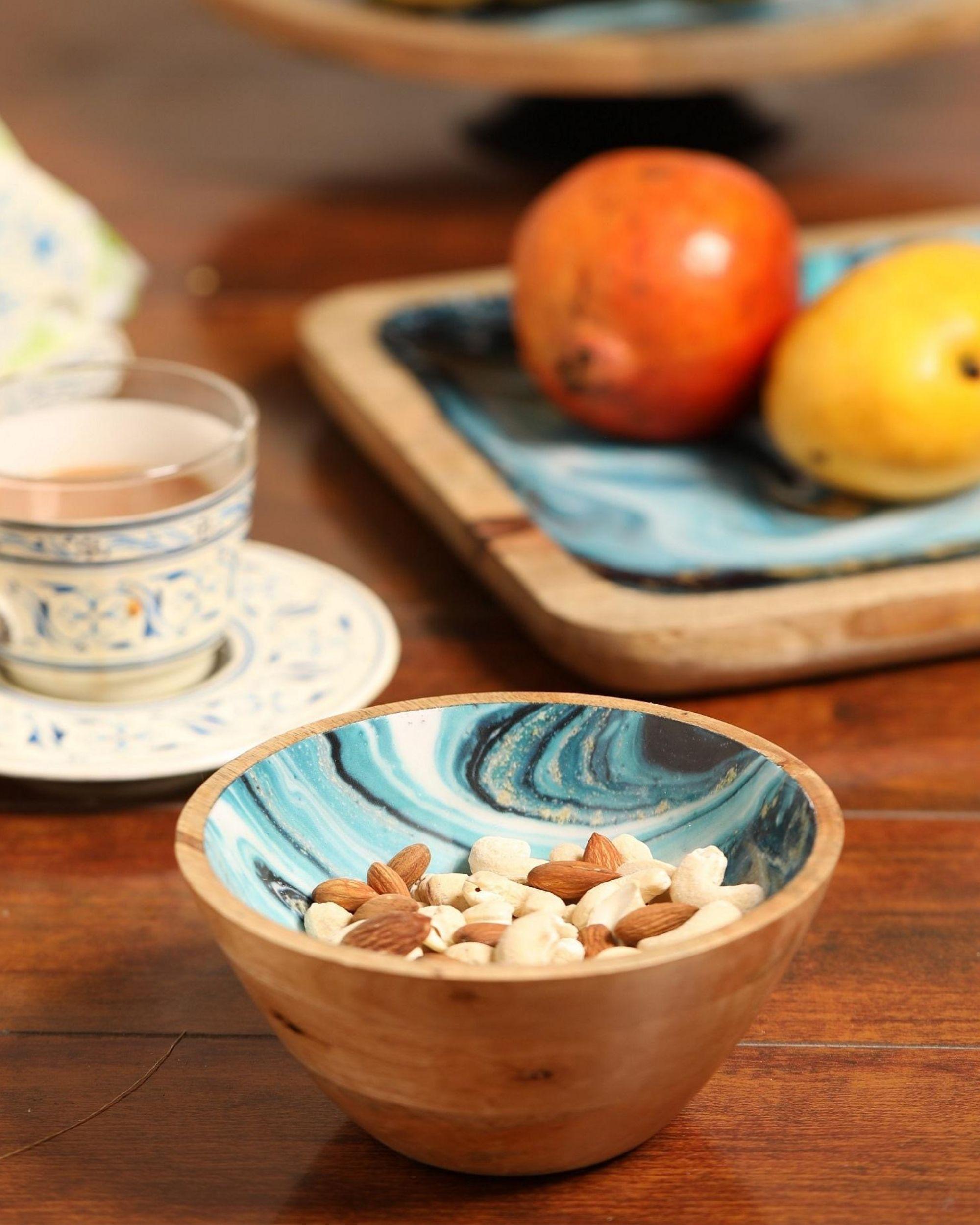 Shades of blue mango wood fruit bowl